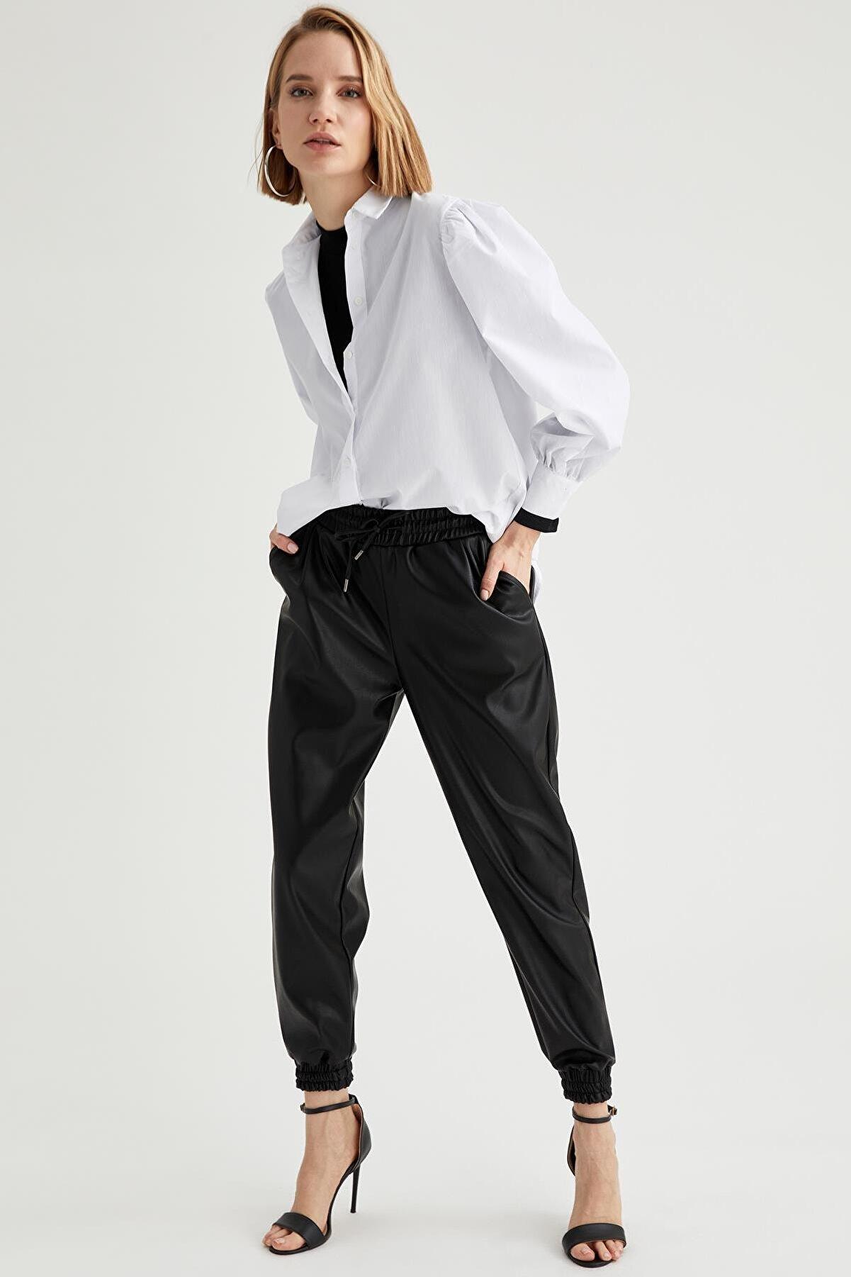Defacto Kadın  Black Red Suni Deri Jogger Pantolon U0127AZ21SP