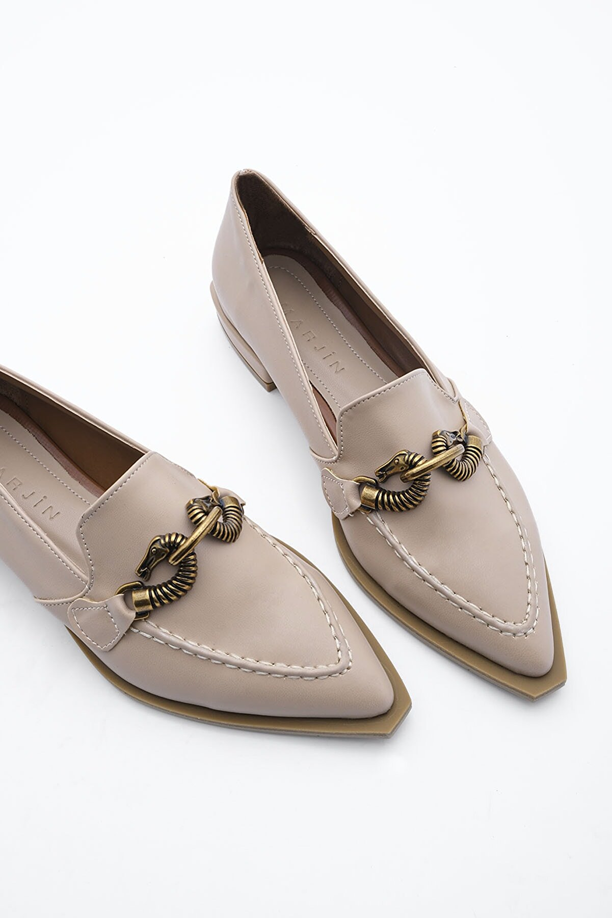 Marjin Kadın Bej Loafer Ayakkabı Tolira