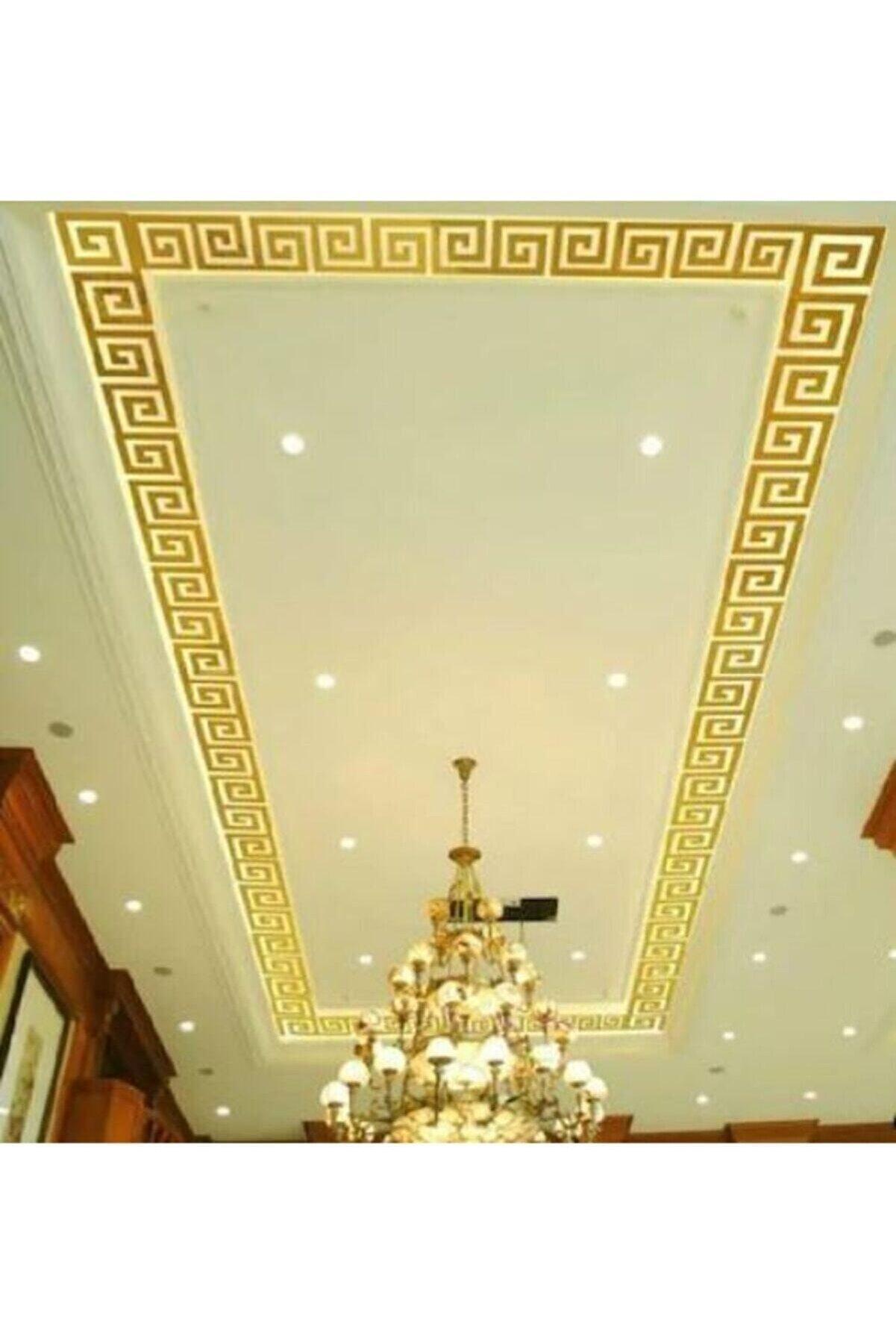 Abaküs Dekor Süs Labırent Bordür 40x Adet 7x7 Pleksi Dekoratif Bordür Altın Ayna Antre