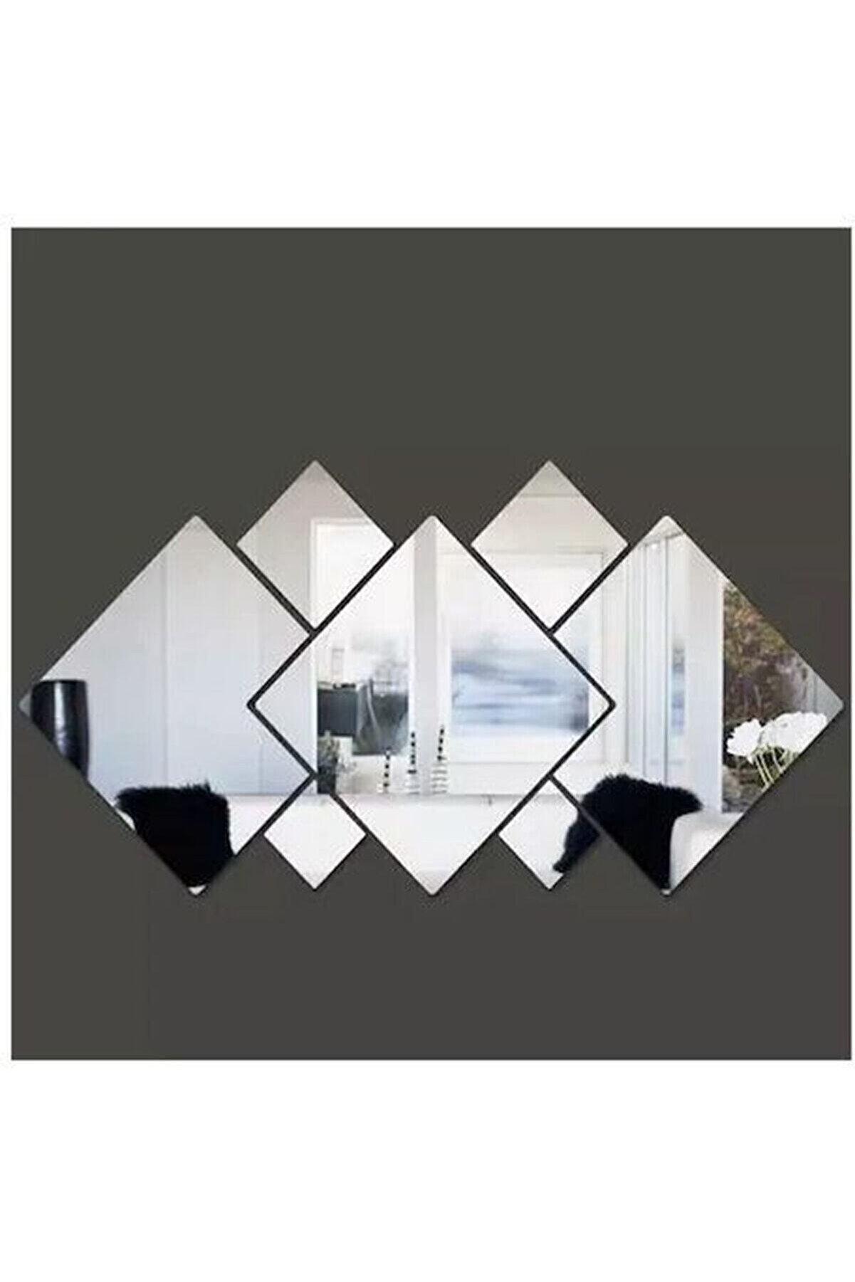 GİZEM SHOP Dekoratif Kare Karışık Pleksi Ayna Gümüş