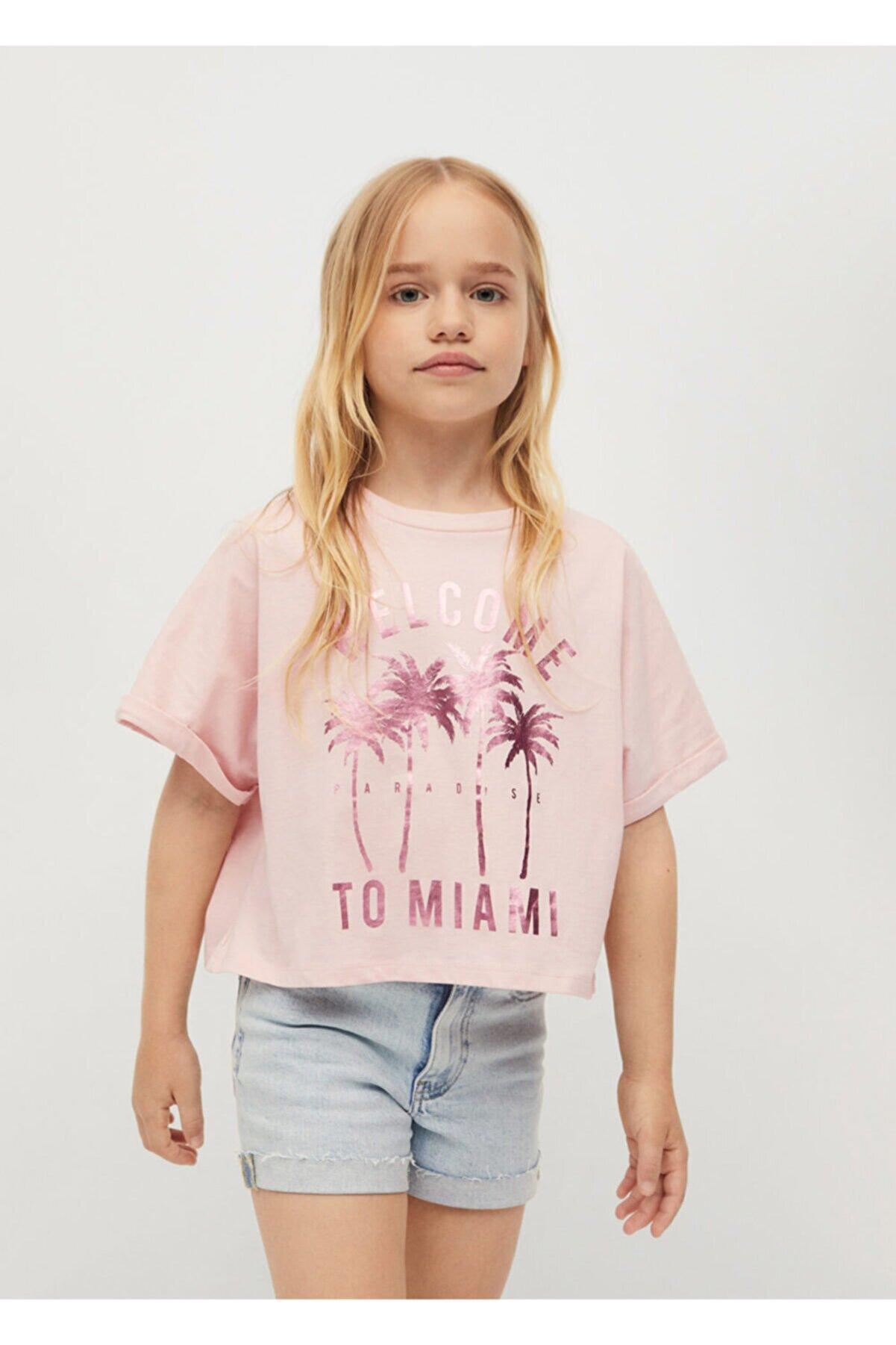 Mango Kız Çocuk Organik Pamuklu Desenli Tişört