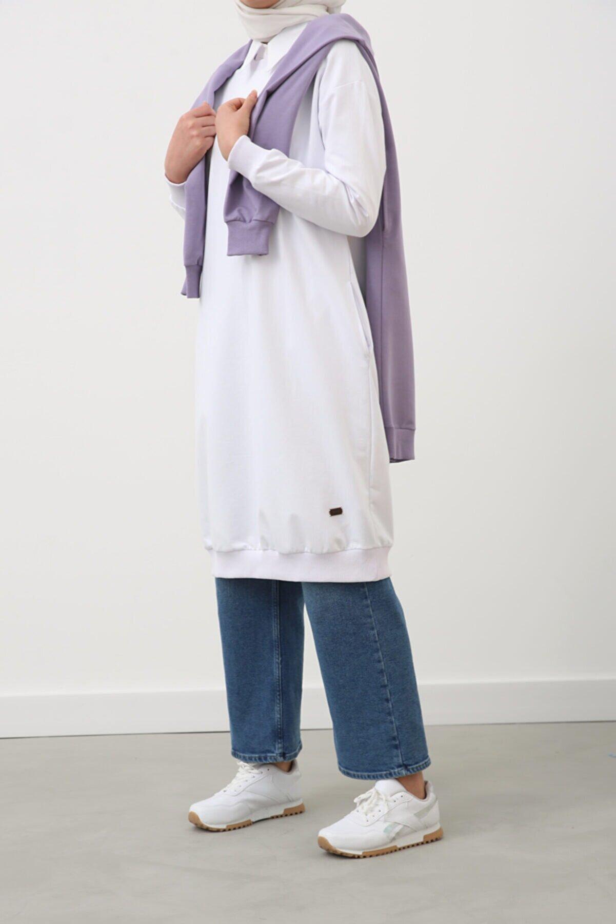 Ekrumoda Beyaz Basic Pamuklu Sweat Tunik
