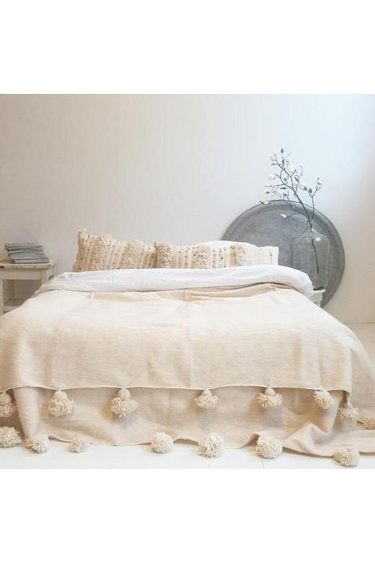 AtölyeNT Bohem Pamuklu Kumaş Yatak/koltuk Örtüsü Bej 200x220 Cm