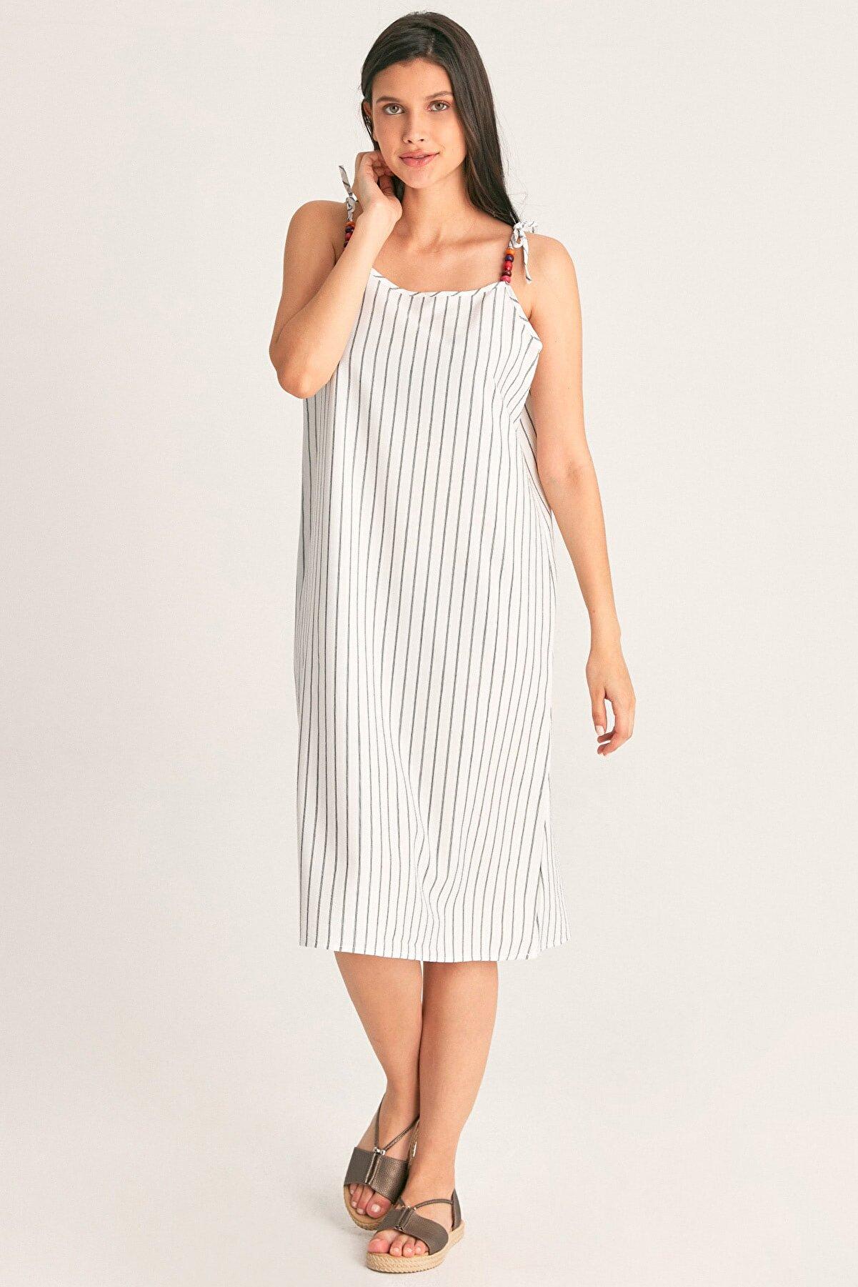 Fullamoda Ip Askılı Çizgili Elbise