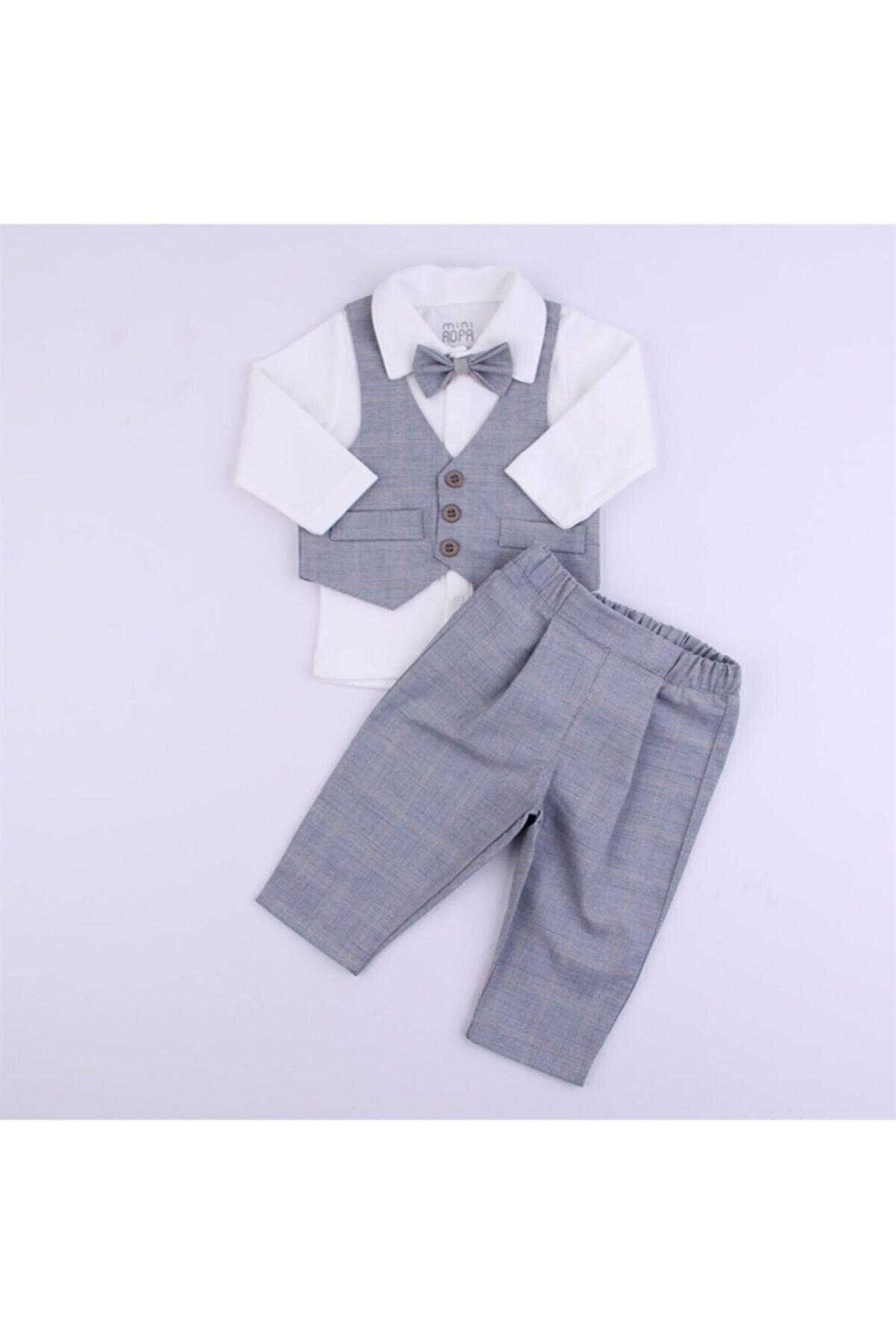 Mini Ropa Yelekli Papylunlu 3'lü Erkek Bebek Takımı -kareli Gri - Özel Gün - Bebek Hediyesi -