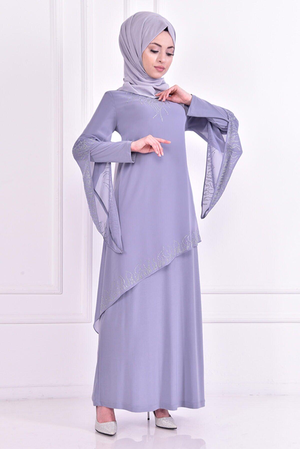 ModaMerve Kadın Taşlı Elbise Asm22680