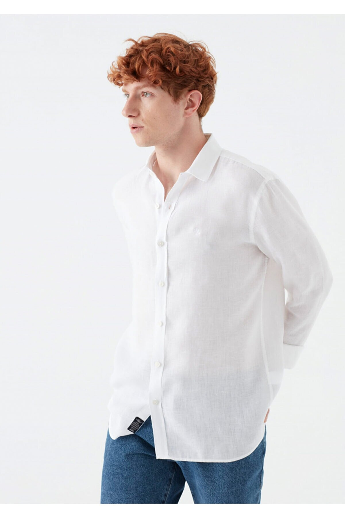 Mavi Beyaz %100 Keten Gömlek 021190-620
