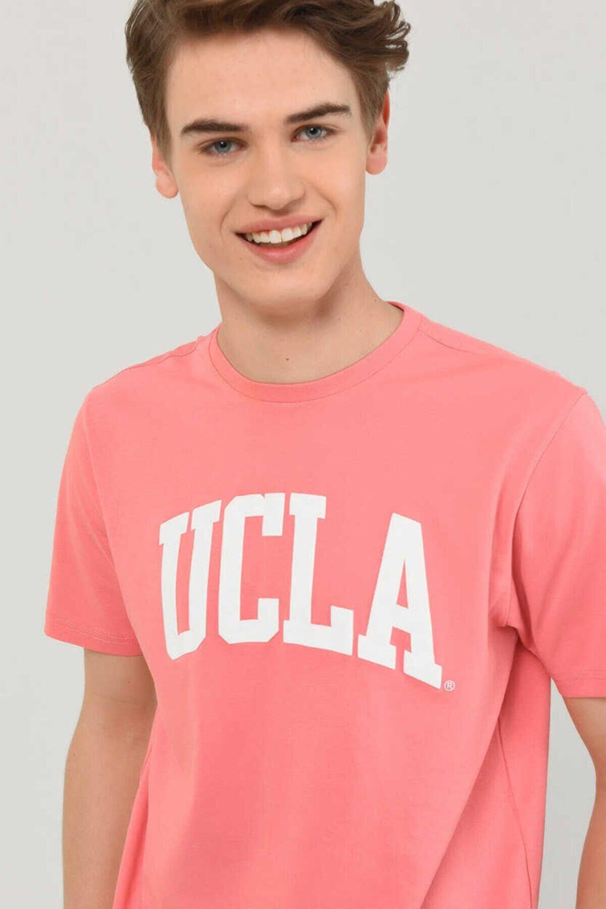 Ucla Culver Pembe Bisiklet Yaka Baskılı Erkek Tshirt