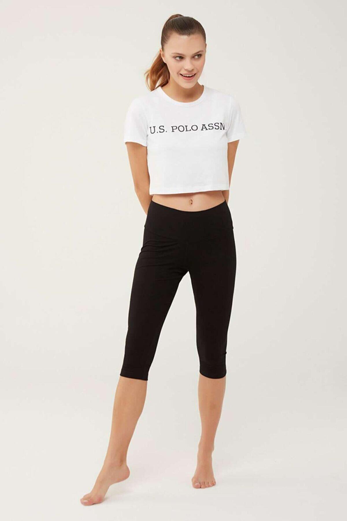 US Polo Assn Kadın Siyah Kısa Tayt