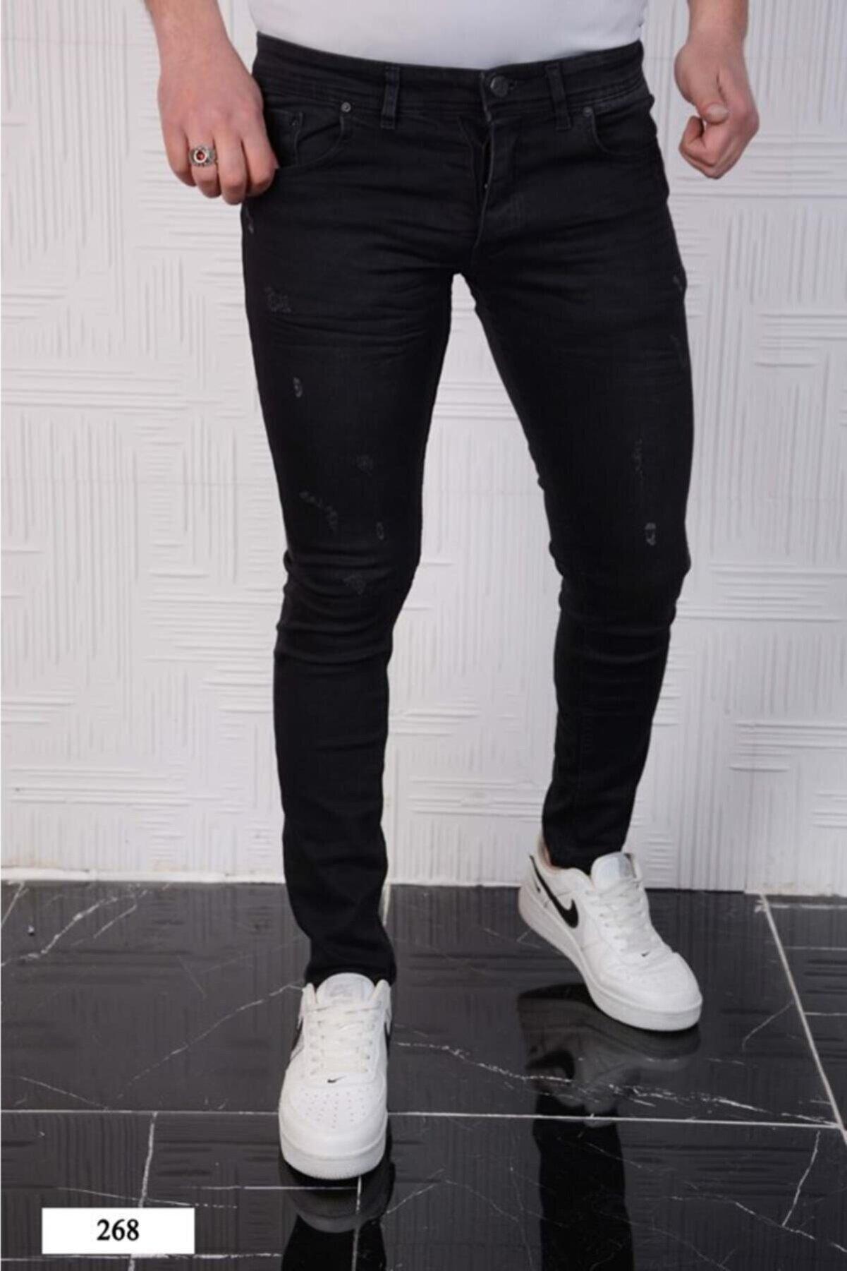 Rich Point Erkek Siyah Jeans Italyan Kesim Kot Pantolon