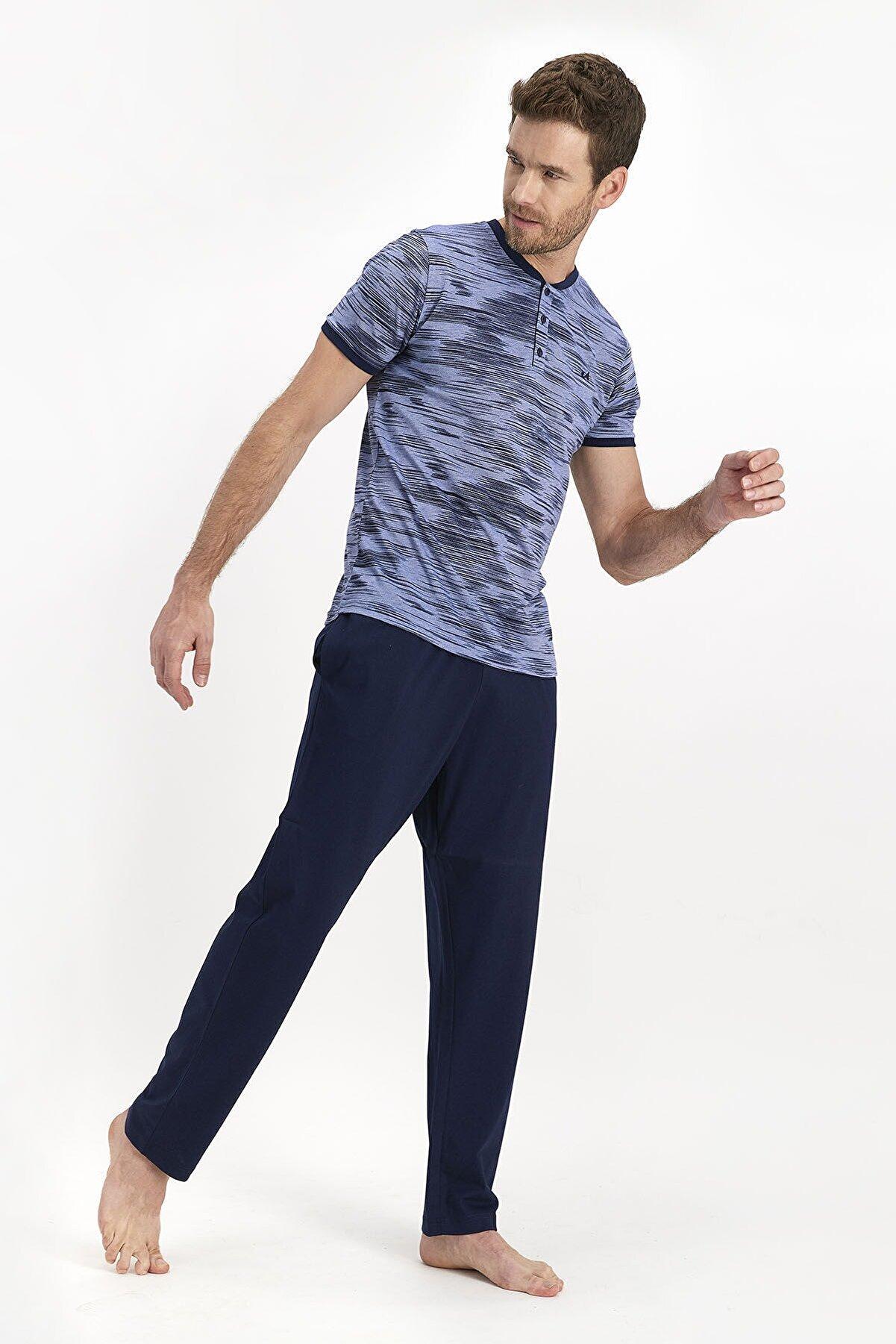 Arnetta Erkek Mavi Kısa Kol Pijama Takımı