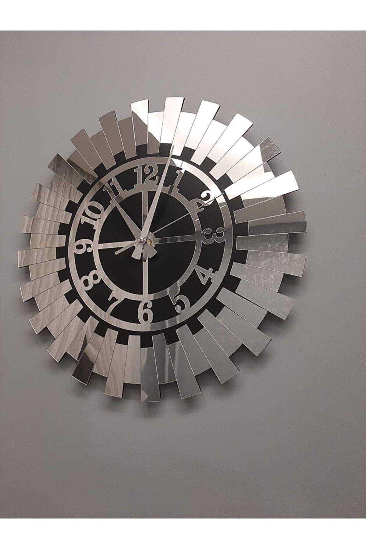 Tuba Decor Modern Gümüş Güneş Duvar Saati Dekoratif Türk Rakamlı Mdf Üzeri Aynalı Pleksi 40x40 Cm