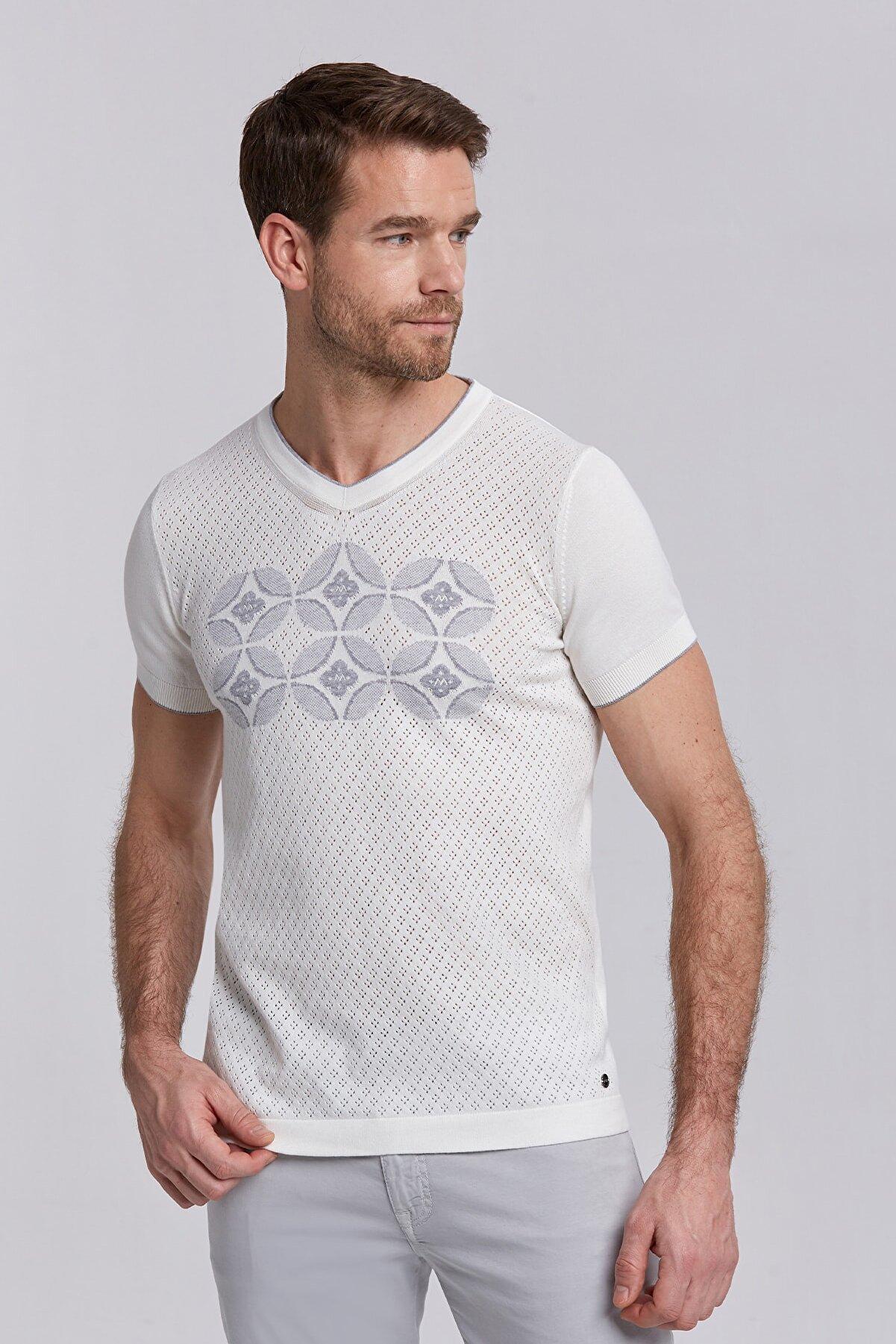 Hemington Erkek Kırık Beyaz Çiçek Desenli V Yaka Triko T-shirt