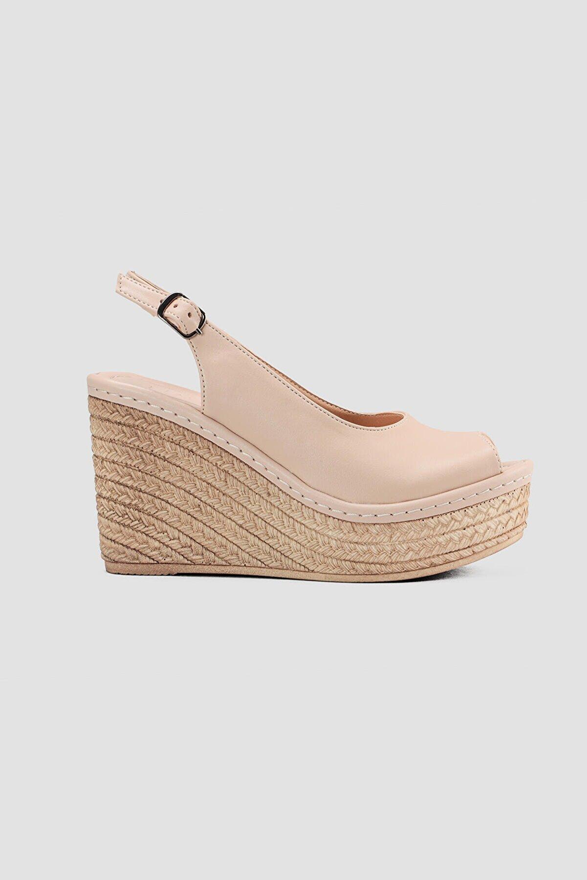 Limoya Kadın  Nud Hasır Taban Detayli Sandalet