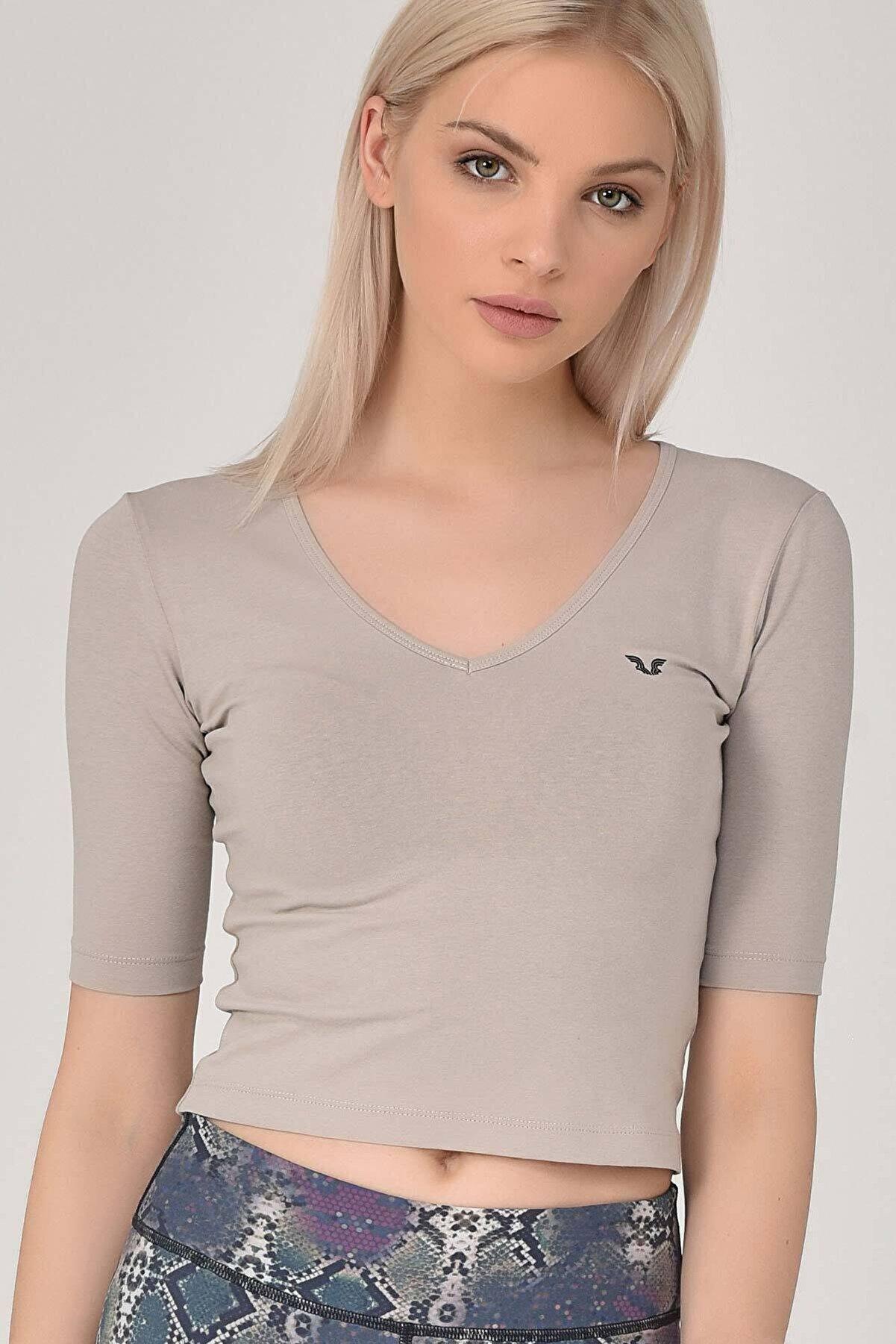 bilcee Krem Kadın Yoga Tişört