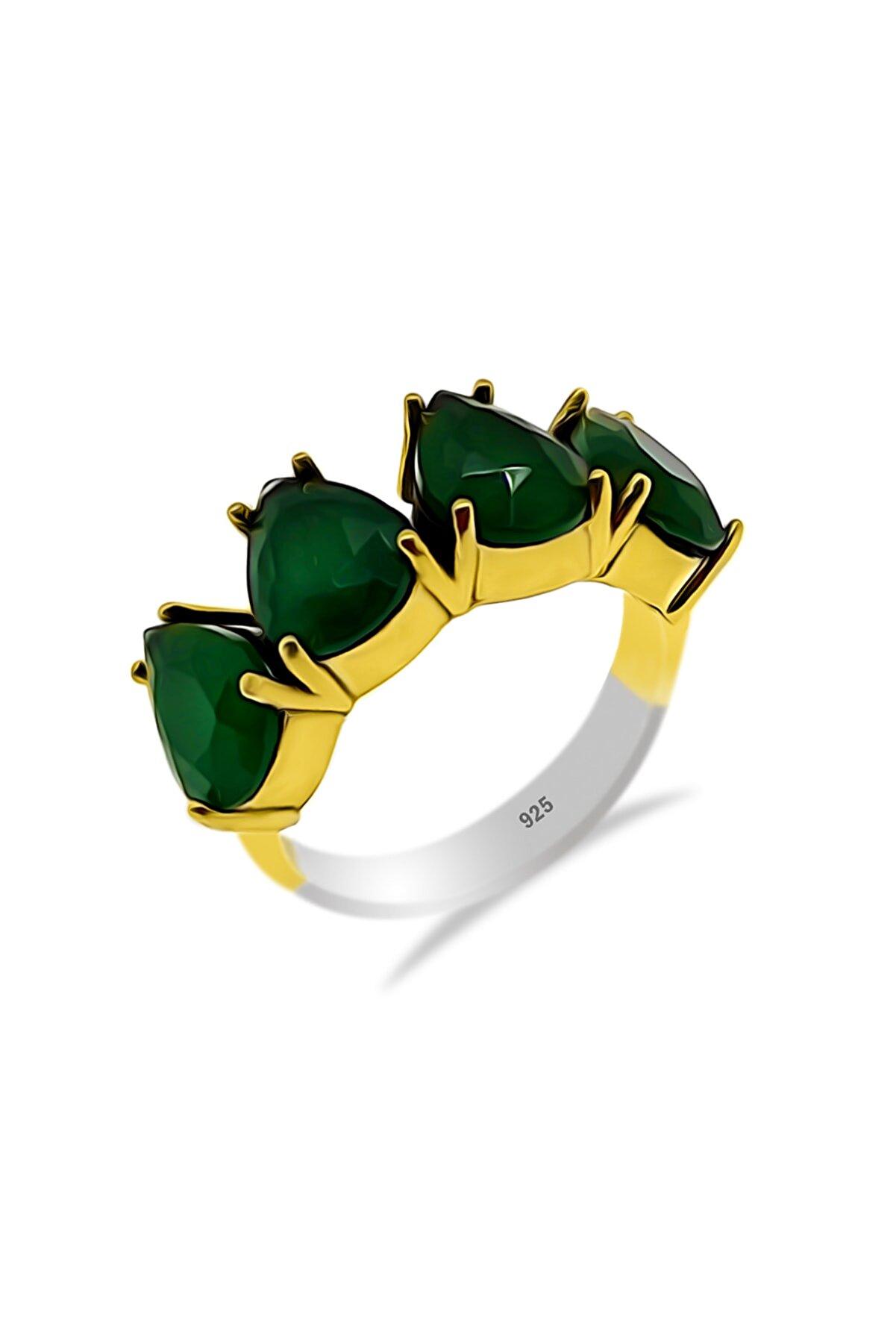 Aykat Kadın Kök Zümrüt Taşlı Yüzük Otantik Gümüş Yüzüğü Modeli Yüzük Yzk-230