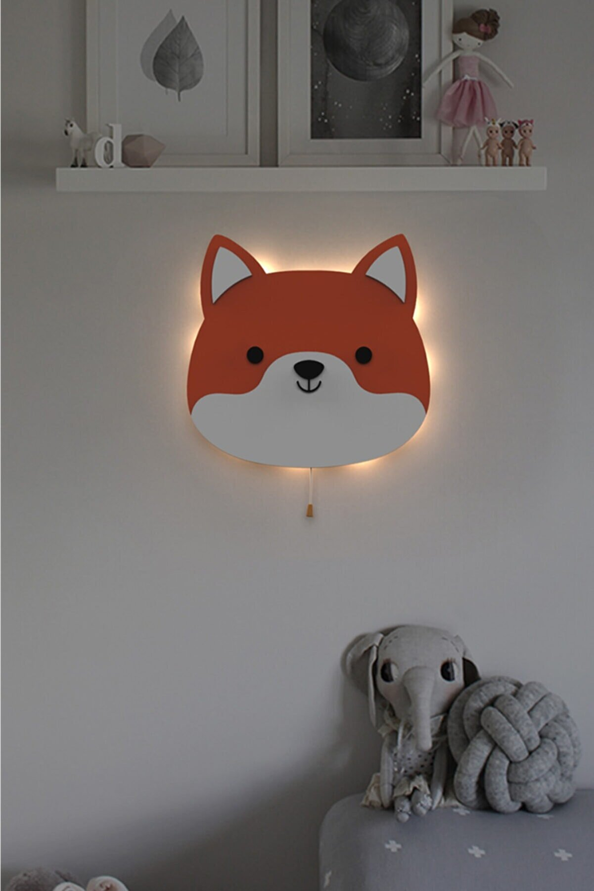 woodcas Çocuk Odası Dekoratif Sevimli Tilki Gece Lambası Led Aydınlatma