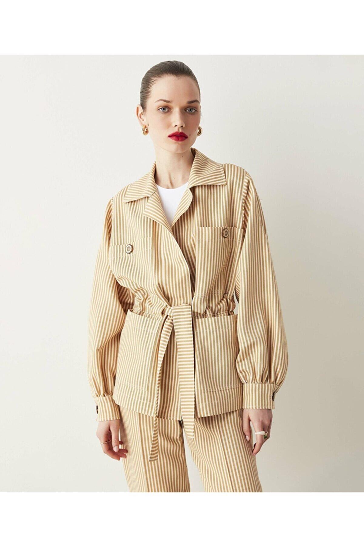 İpekyol Çizgili Keten Ceket