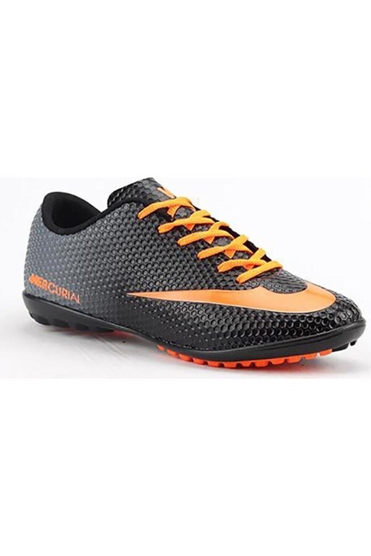 Walked 401 Siyah Turuncu Erkek Halı Saha Ayakkabısı