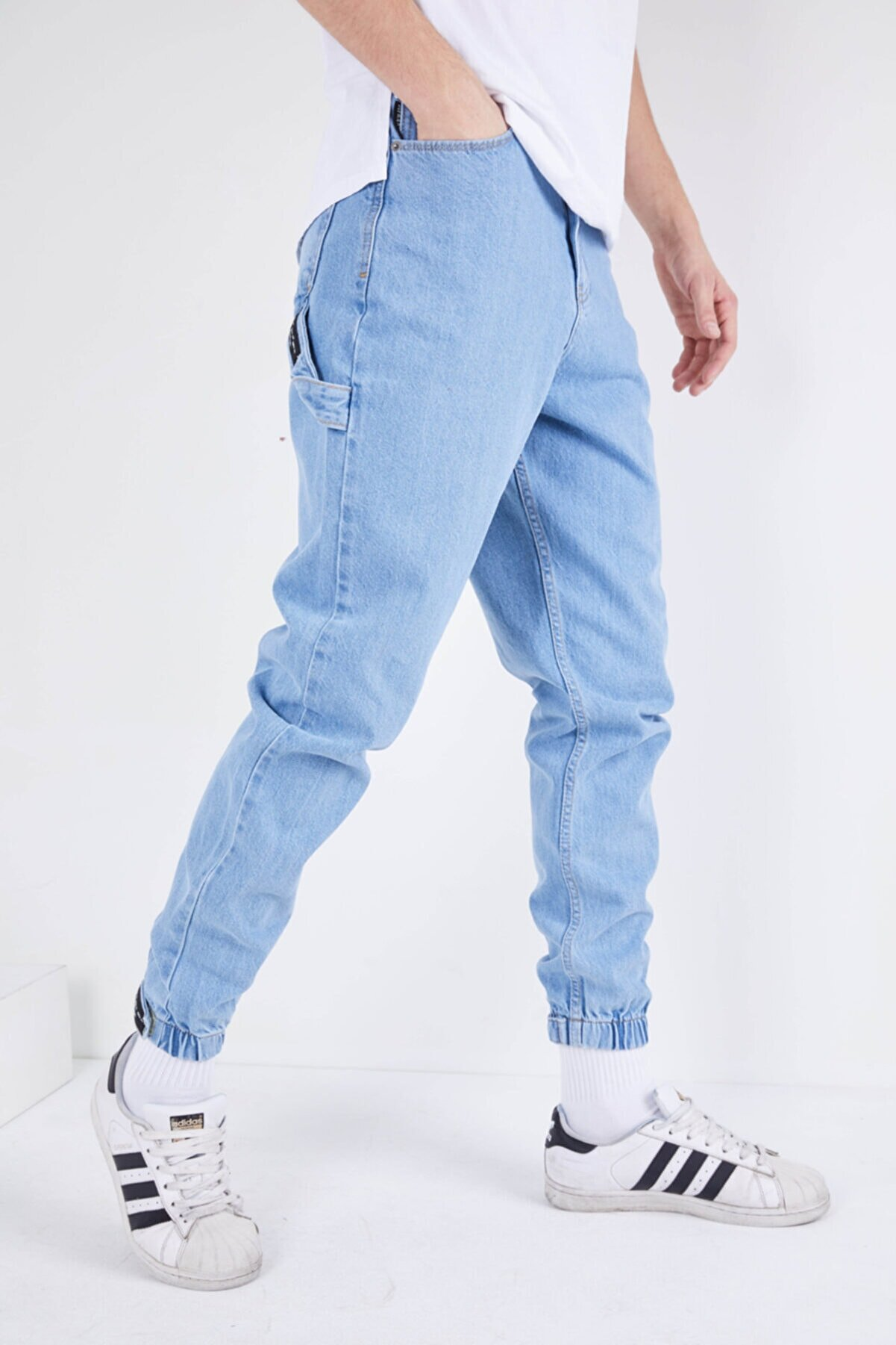 DİFRANSEL Erkek Açık Mavi Düz Paçası Lastikli Likrasız Kot Pantolon