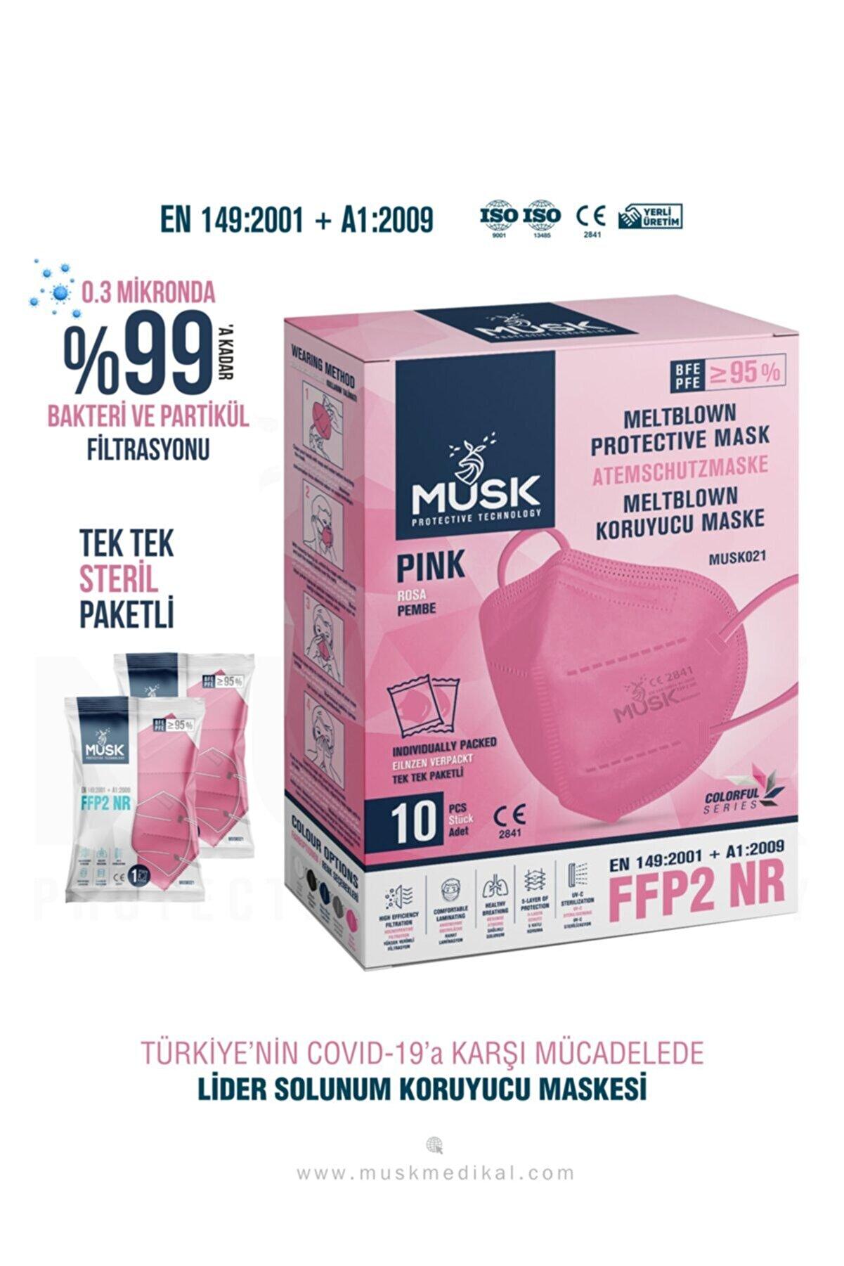 Musk Ffp2 Nr Özellikli Ce Ve Iso Sertifikalı 10 Adet Maske(pembe)