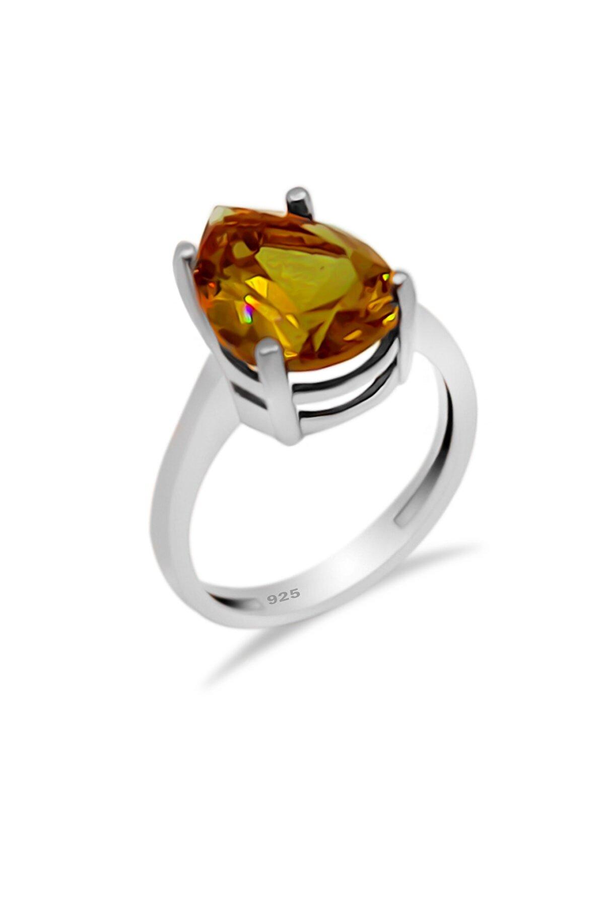 Aykat Damla Modeli Renk Değiştiren Zultanit Taşlı Yüzük Gümüş Kadın Yüzüğü Yzk-262