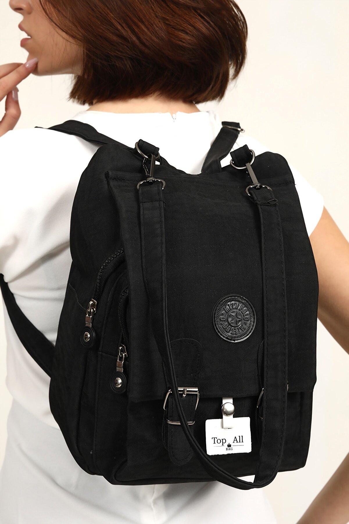 Top All BAG Siyah Kadın Krinkıl Kumaş Okul Sırt Ve Omuz Çanta