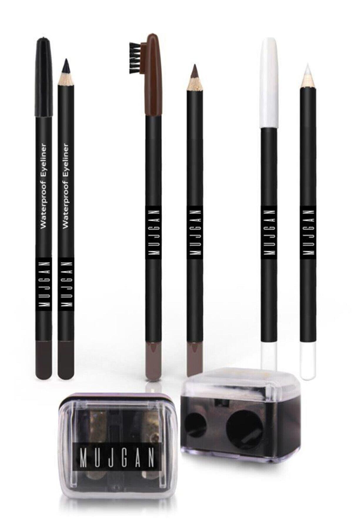 MUJGAN Siyah Göz Kalemi + Beyaz Göz Kalemi + Kahverengi Kaş Kalemi + Açacak 4'lü