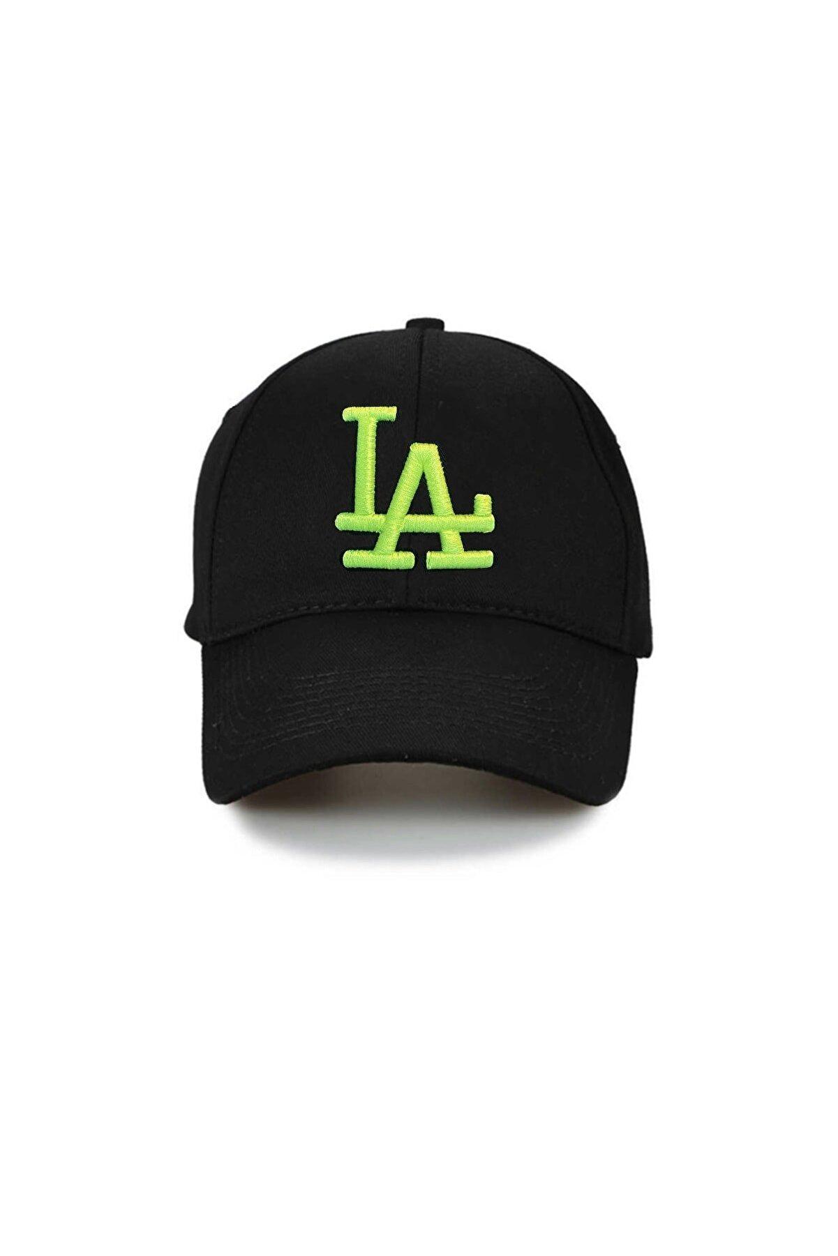 NuxFah La Los Angeles Unisex Siyah Şapka Özel Forforlu Yeşil Nakış