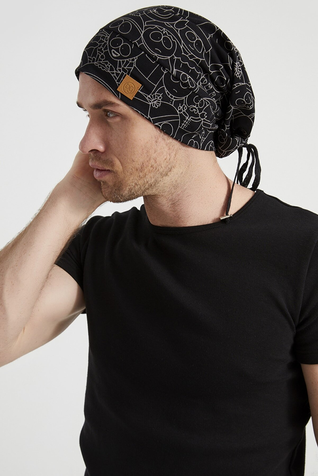 Butikgiz Erkek Siyah, Beyaz Desenli, Ip Detaylı 4 Mevsim Şapka Bere Buff Ultra Yumuşak Doğal Penye