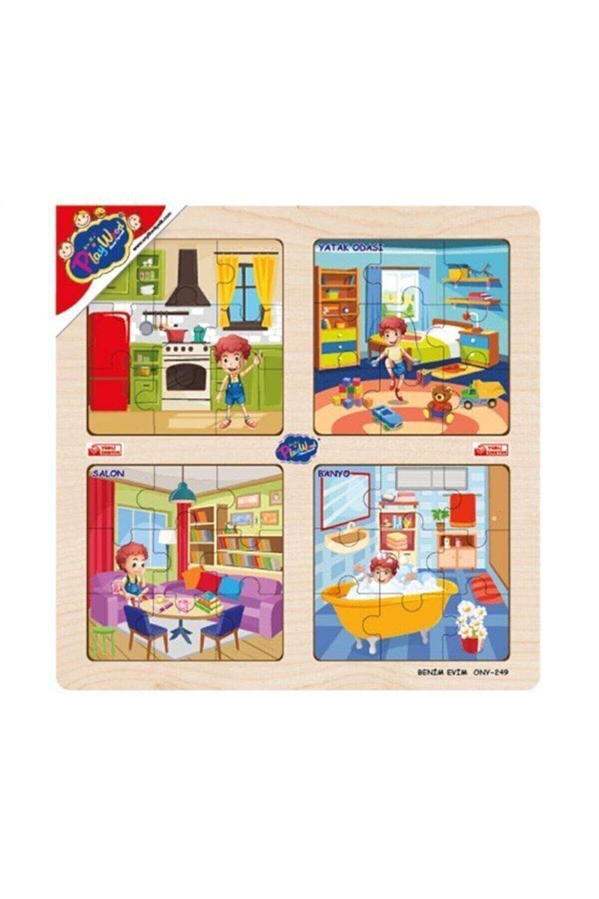 Playwow 4lü Ahşap Puzzle / Benim Evim Oyuncak