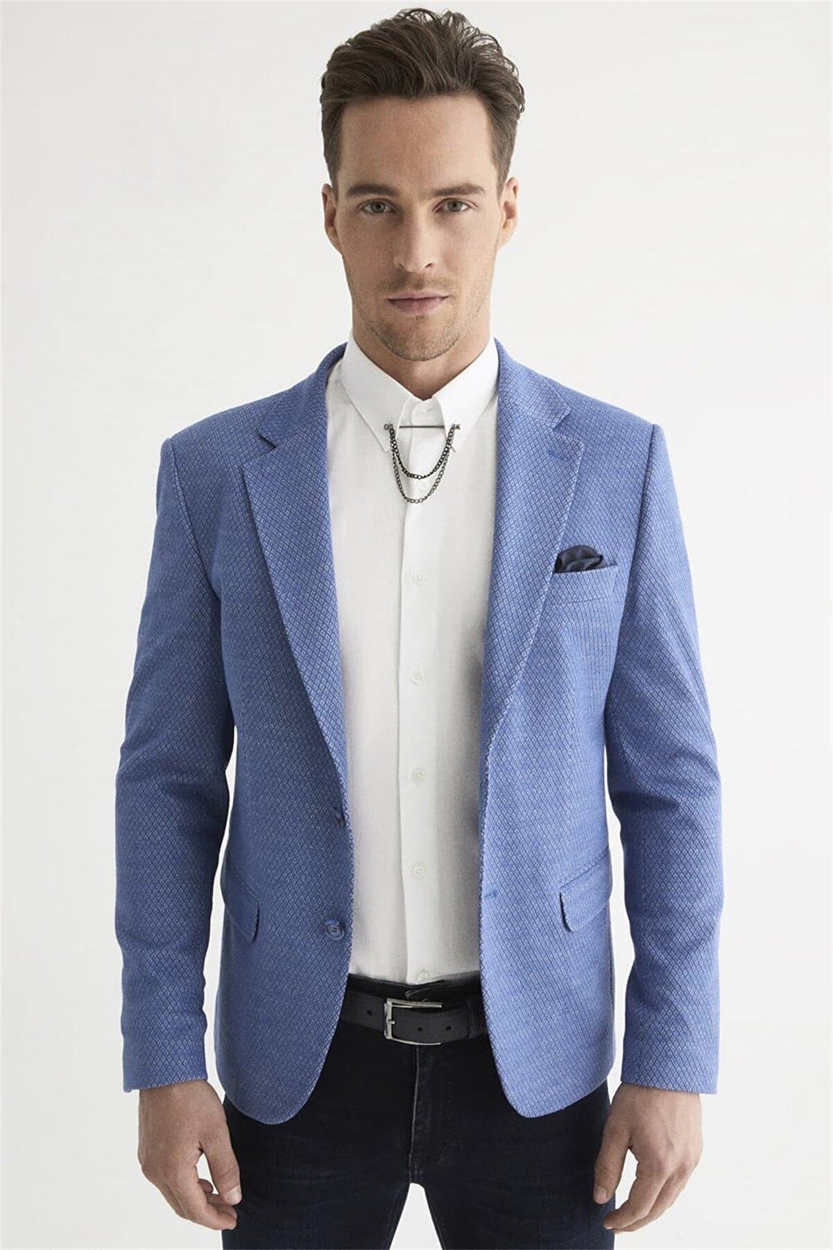 Efor C 569 Slim Fit Mavi Spor Ceket
