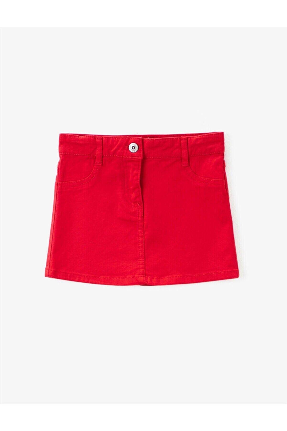 Koton Kız Çocuk Kırmızı Gabardin Kumas Normal Bel Mini Basic Etek