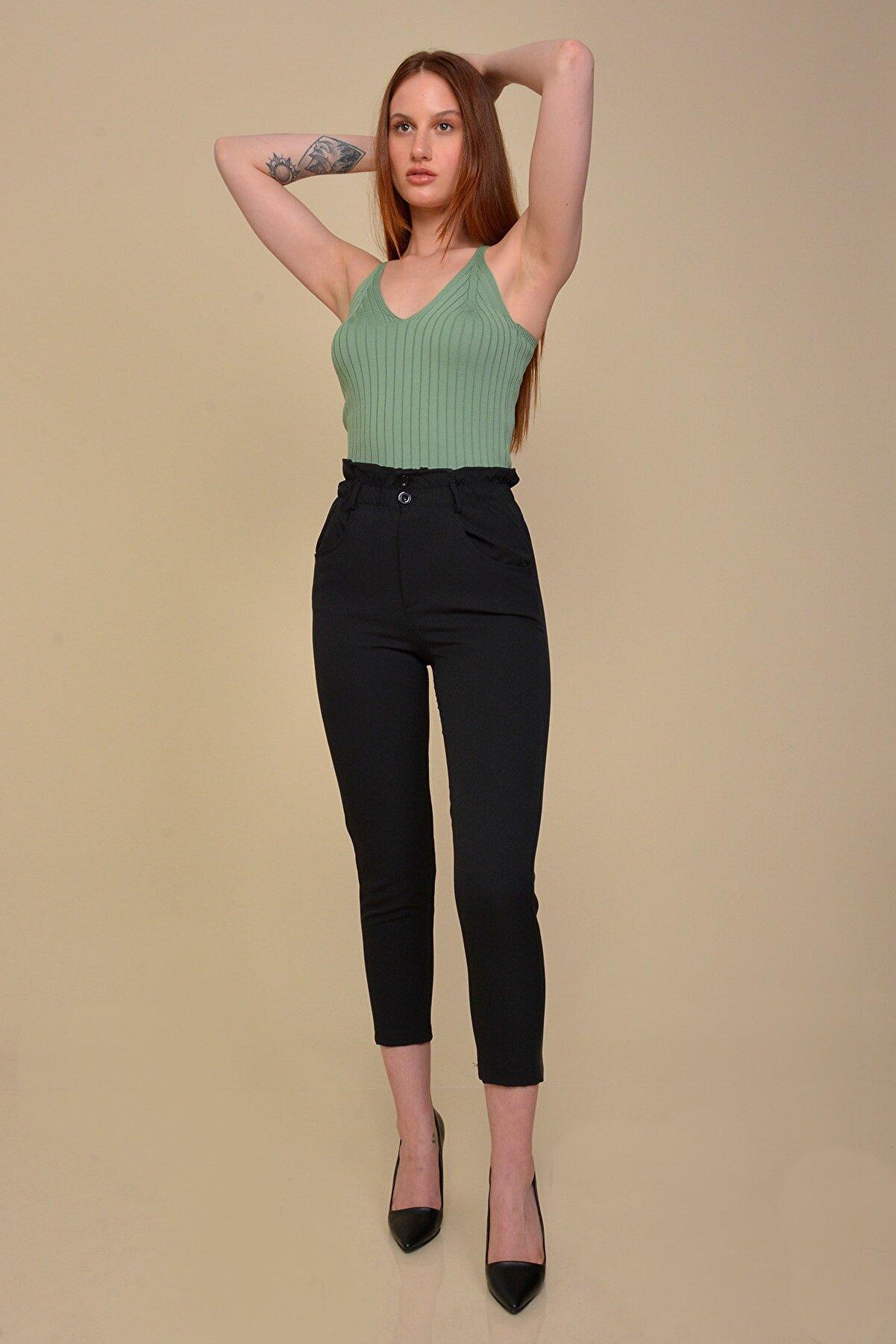 Mossta Kadın Siyah Bel Büzgülü Kumaş Pantolon