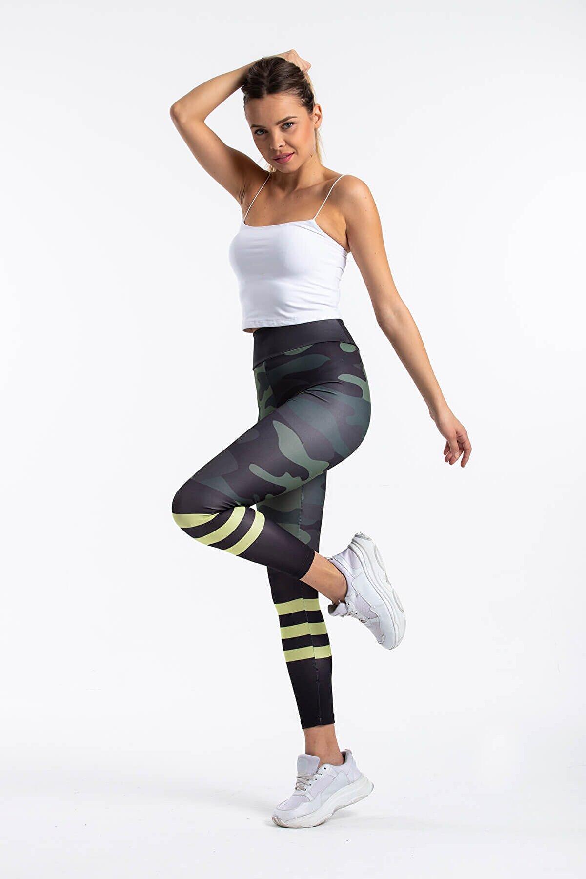 Mossta Kadın Yeşil Yüksek Bel Sporcu Tayt