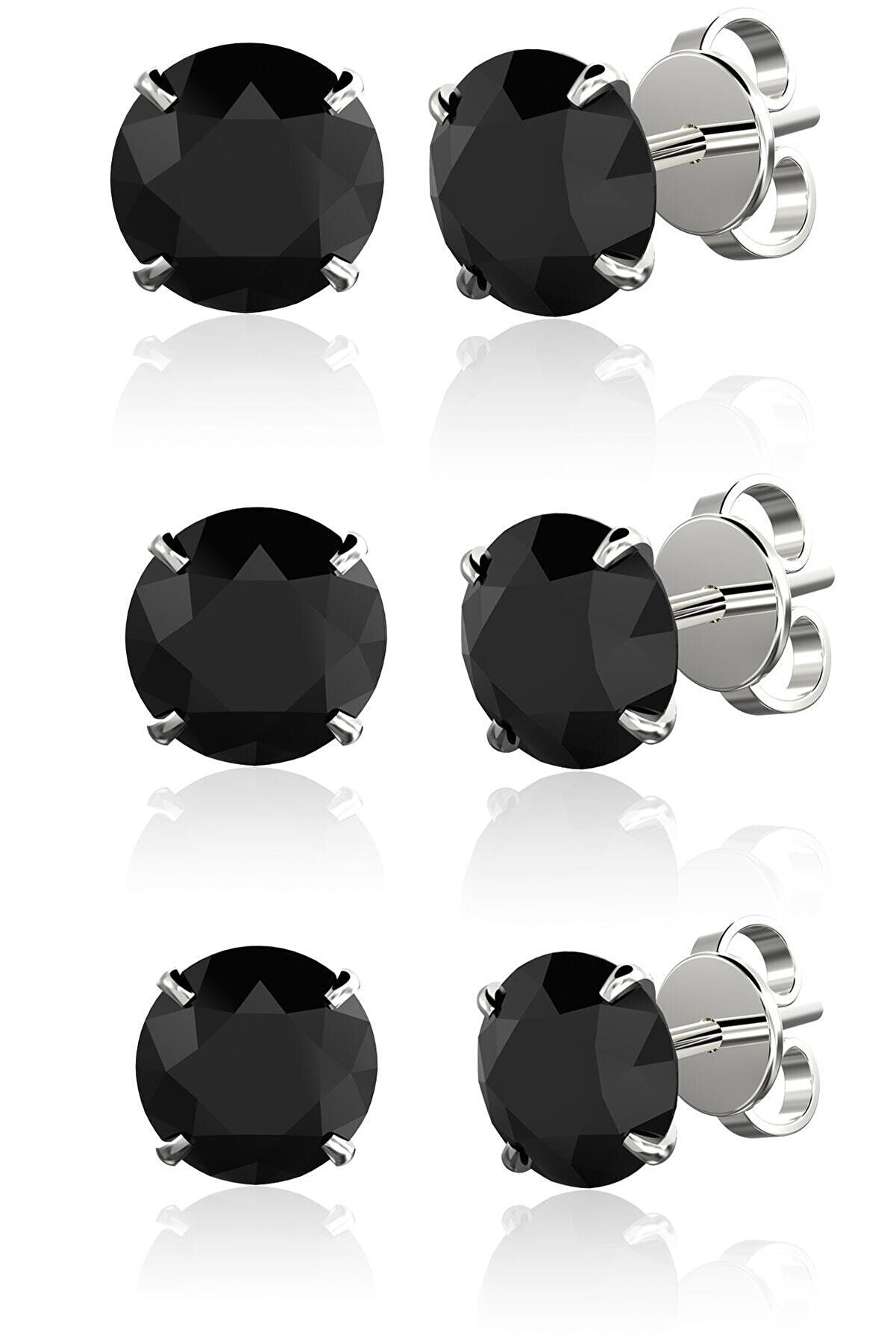 Omar Silver Unisex Tek Taş Siyah Yuvarlak Kesim 3'lü Set 4mm 5mm 6mm Beckham Ithal Rodyum Gümüş Küpe