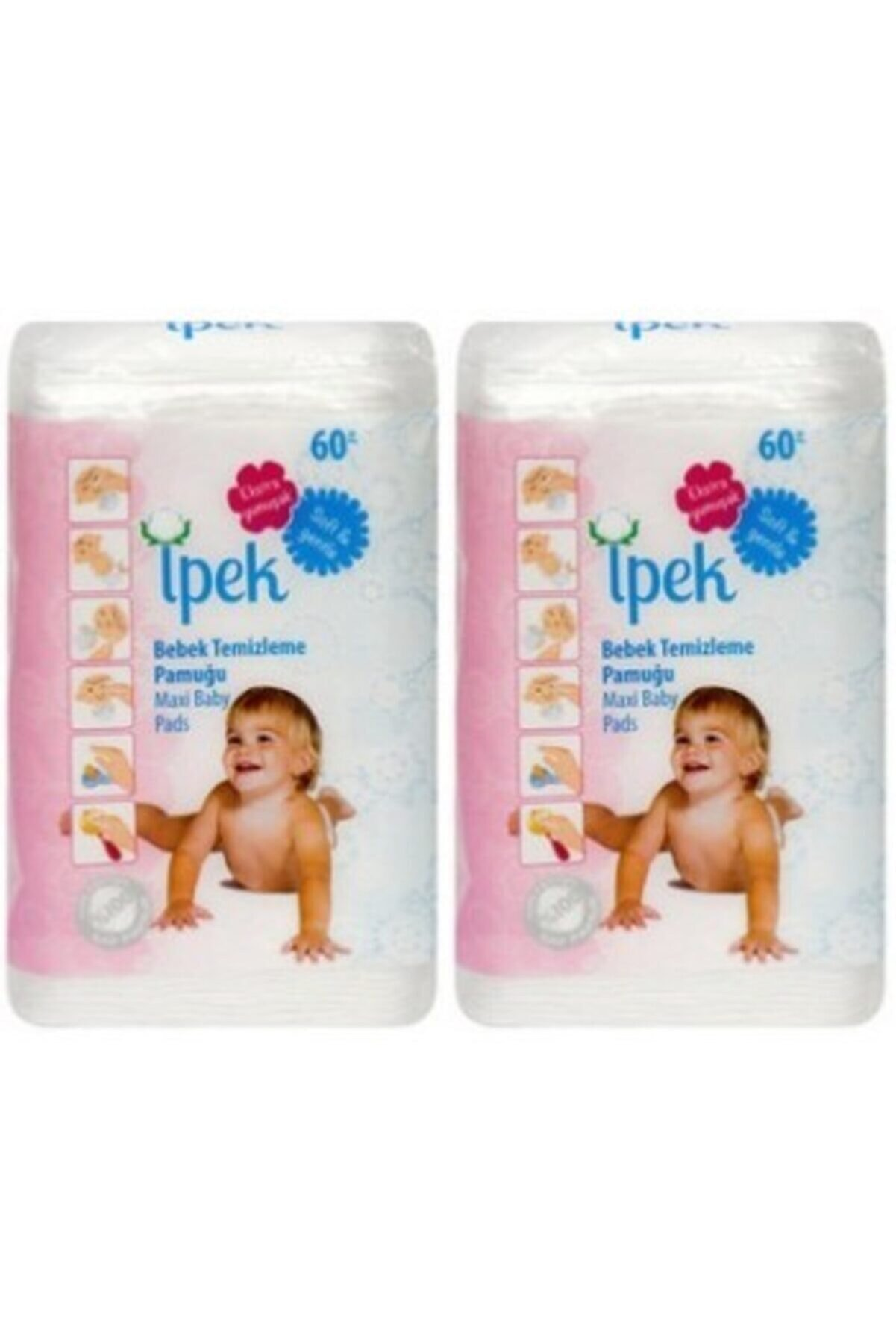 İpek Maxi Bebek Temizleme Pamuğu 60'lı 2 Paket