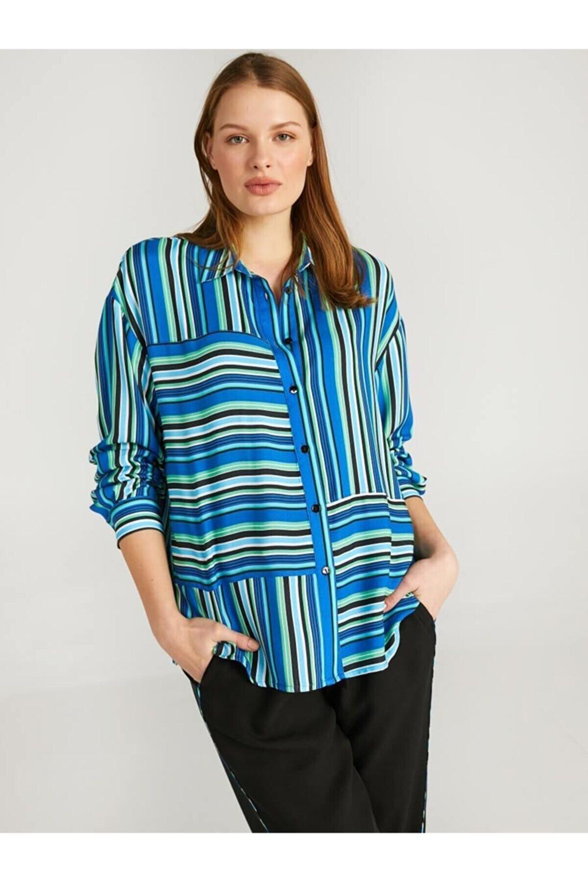 Faik Sönmez Kadın Lacivert Çizgili Uzun Kol Gömlek