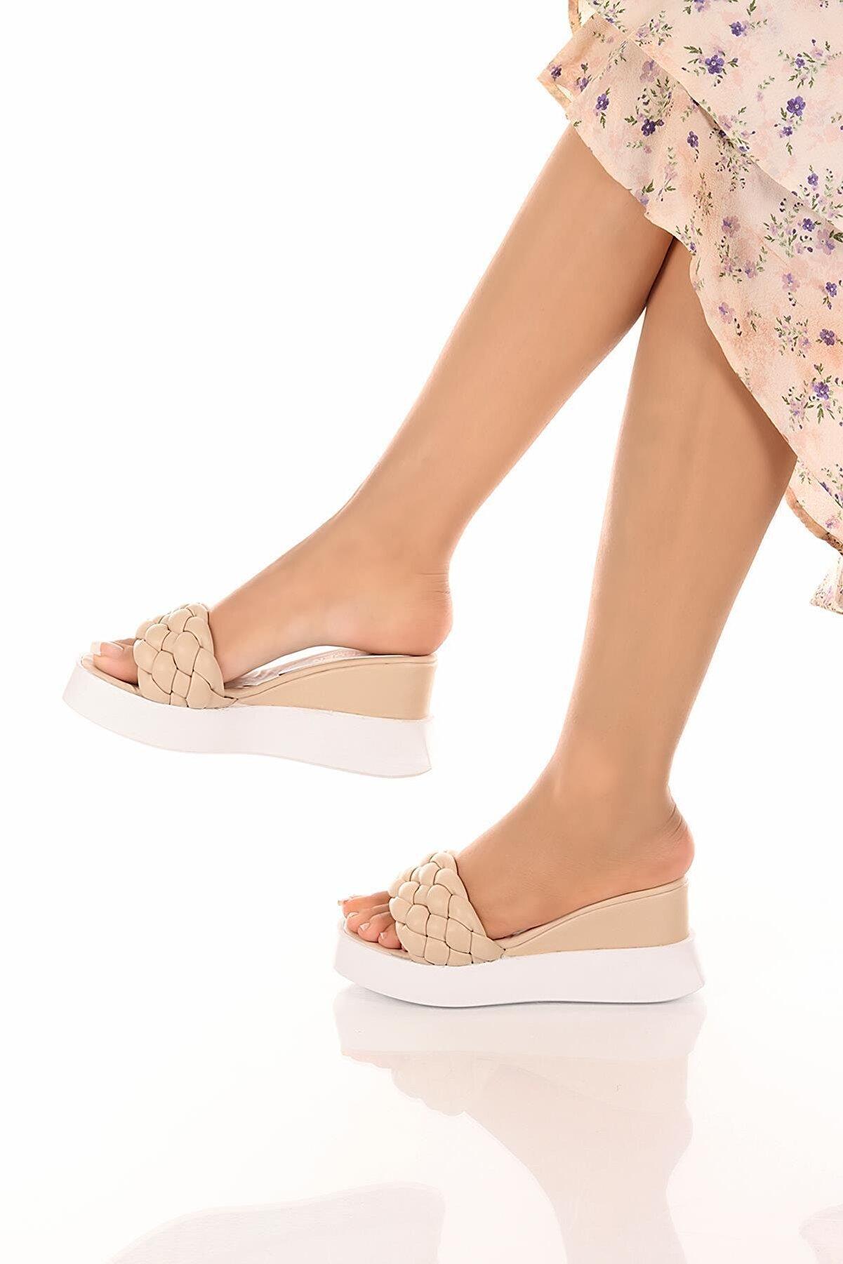 SOBY SHOES Kadın Günlük Rahat Ortopedik Taban El Örgüsü Sandalet Terlik Soby11030012