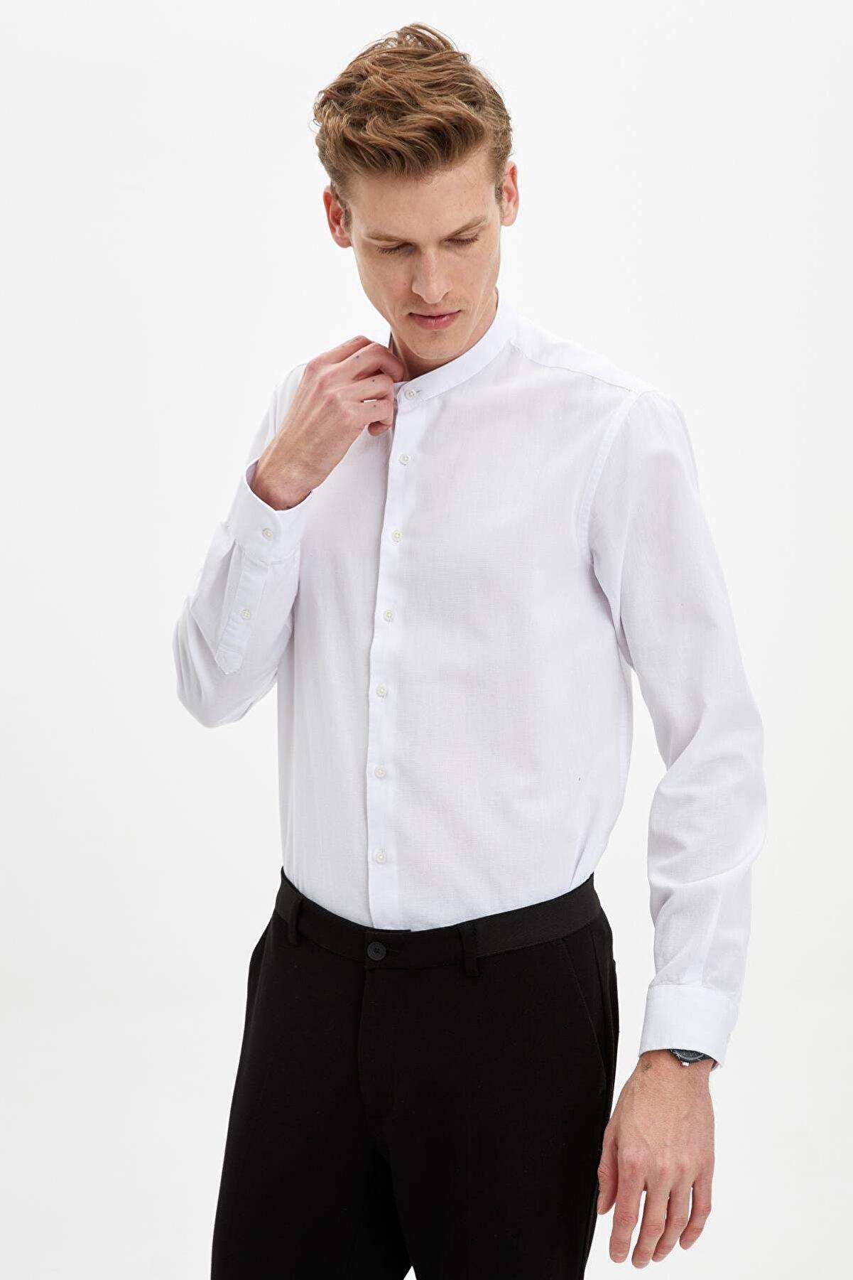Defacto Erkek Beyaz Hakim Yaka Slim Fit Gömlek N6362AZ.20SM.WT34