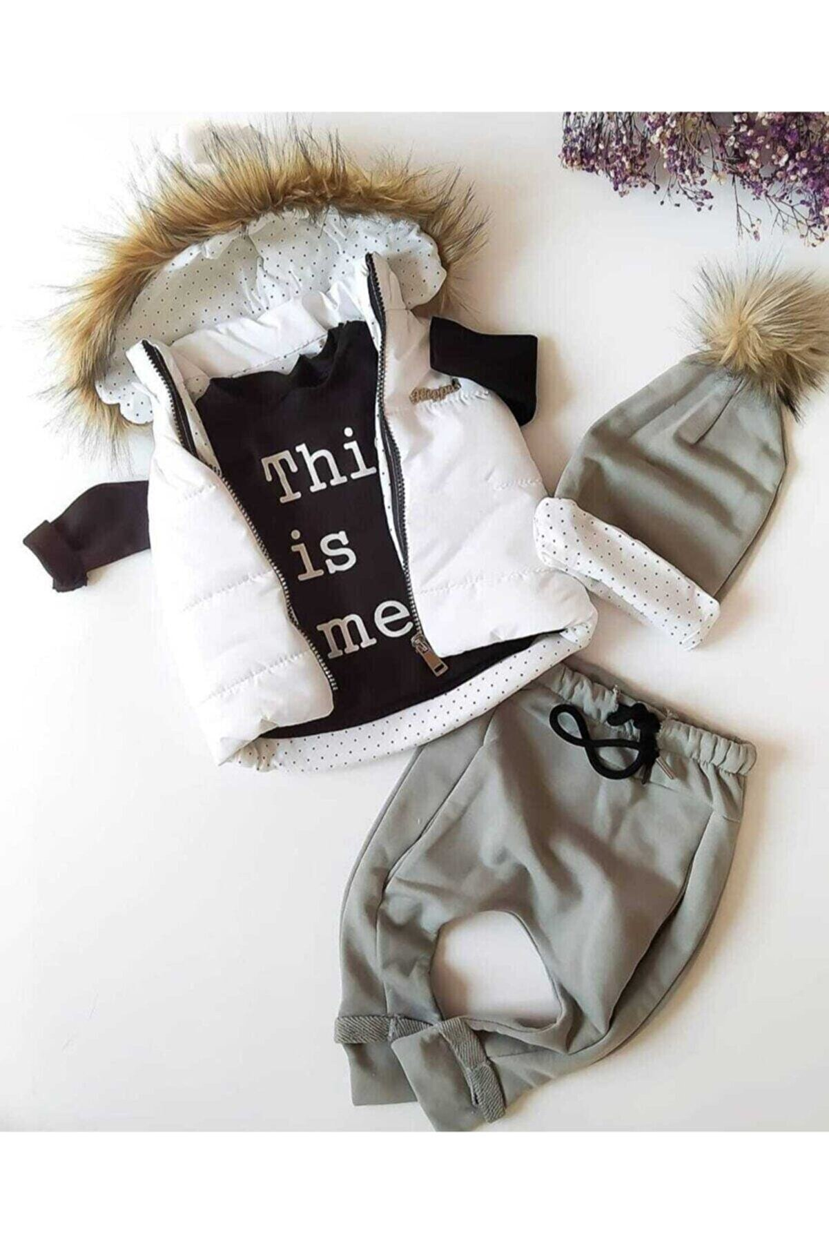 Hippıl Baby Unısex Bebek Altı Gri Şişme Yelekli Üçlü Takım