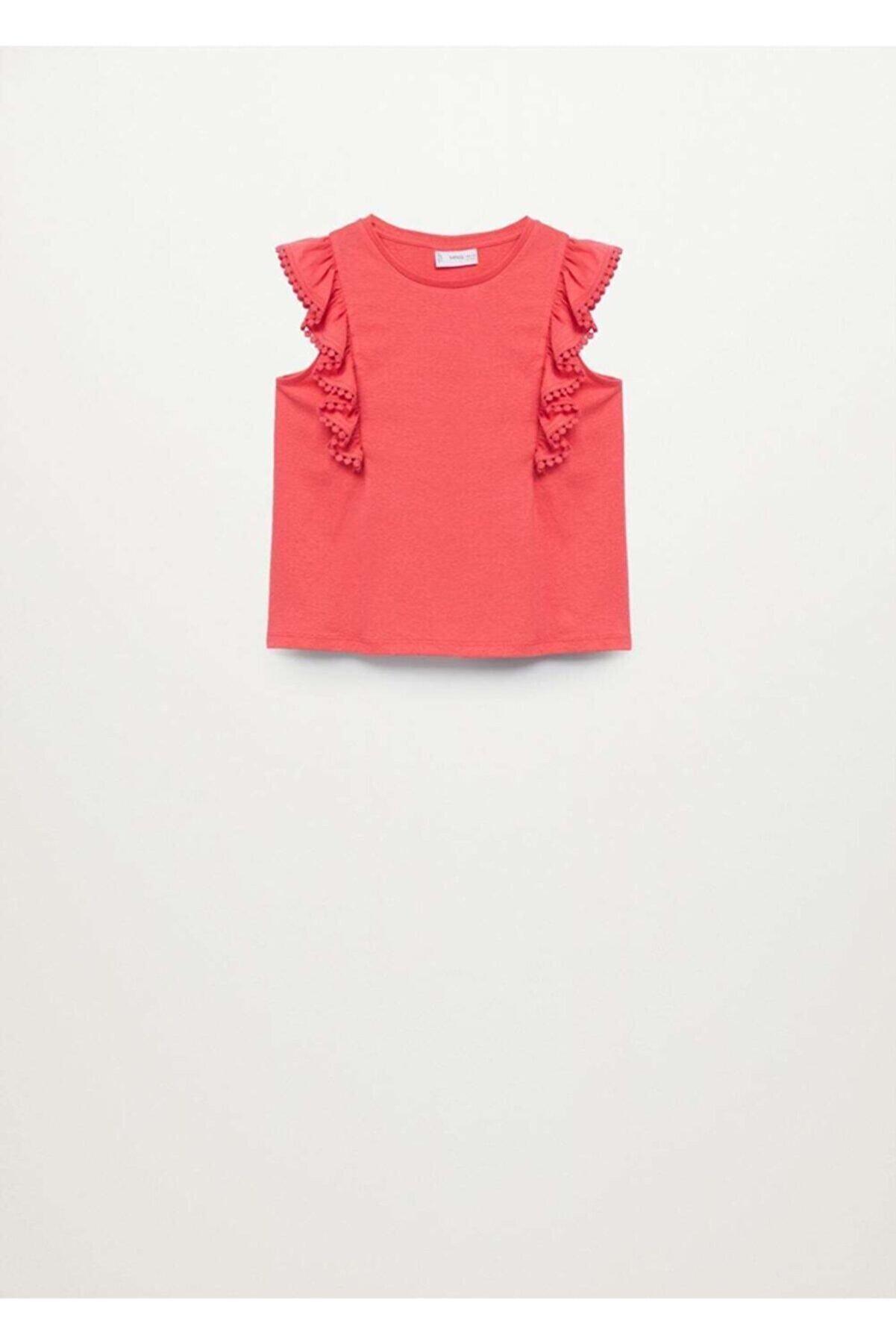 Mango Organik Pamuklu Fırfırlı T-Shirt