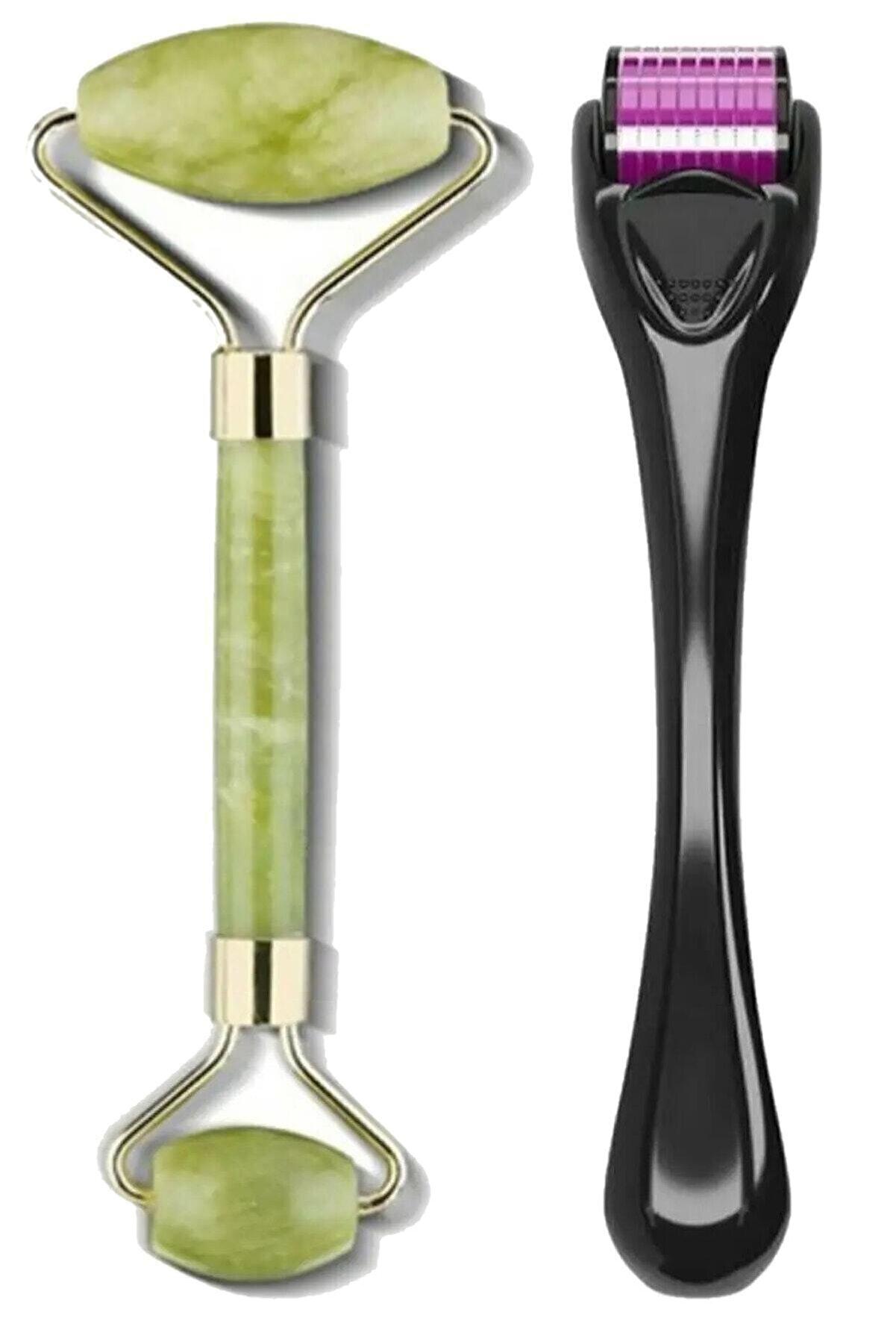 İzla Dermaroller 0,5 Mm 540 Iğneli Cilt Yenileme Aleti Jade Roller 2'li Yeşim Taşı Masaj Aleti