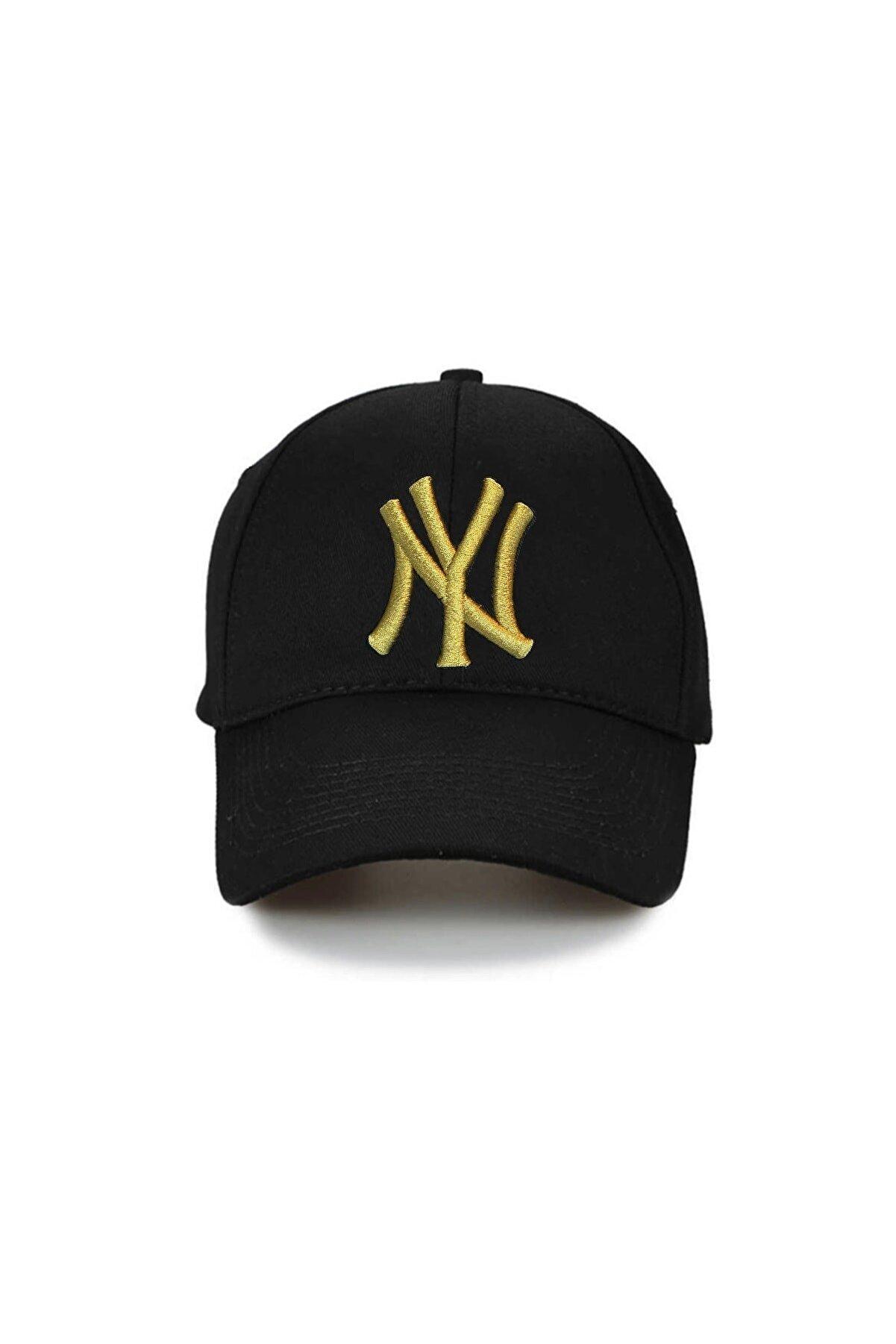 NuxFah Unisex Siyah Ny New York  Özel Gold Nakış Şapka