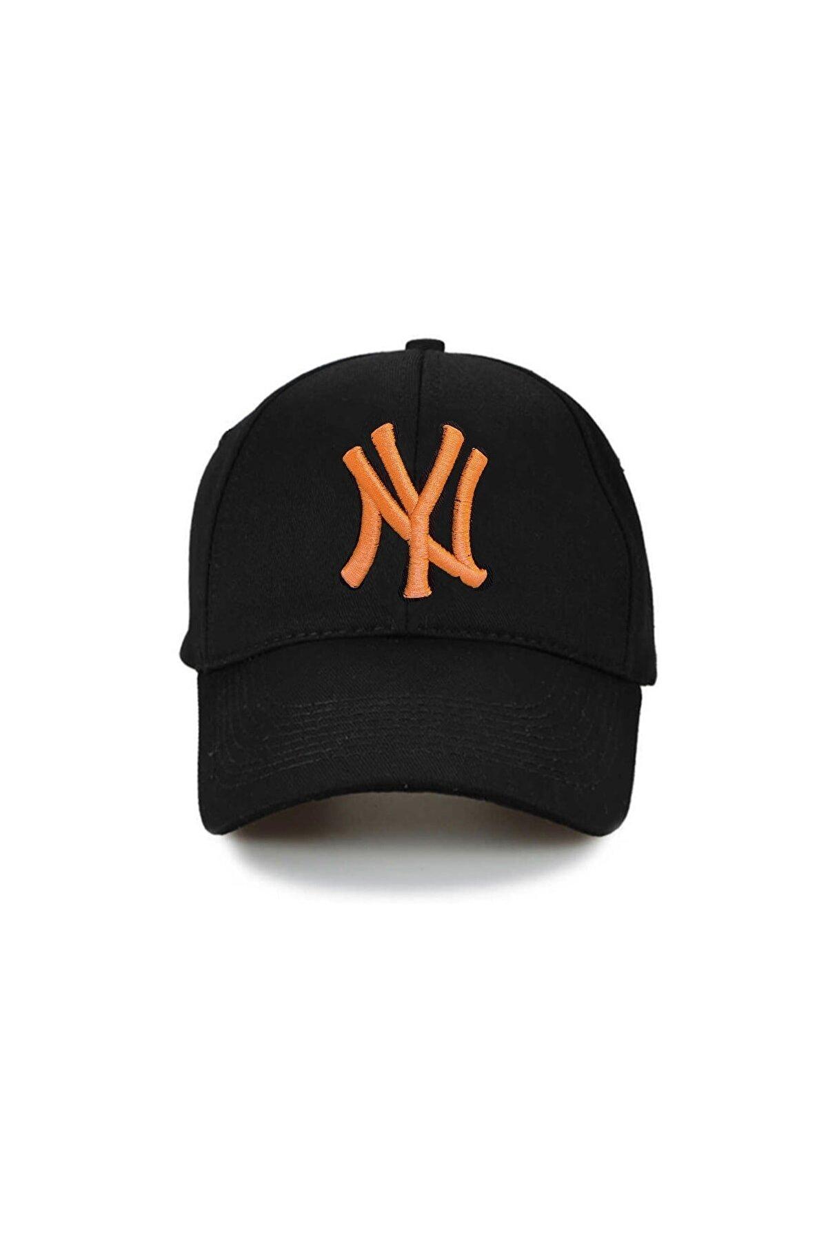 NuxFah Ny New York Unisex Siyah Şapka Özel Oranj Nakış