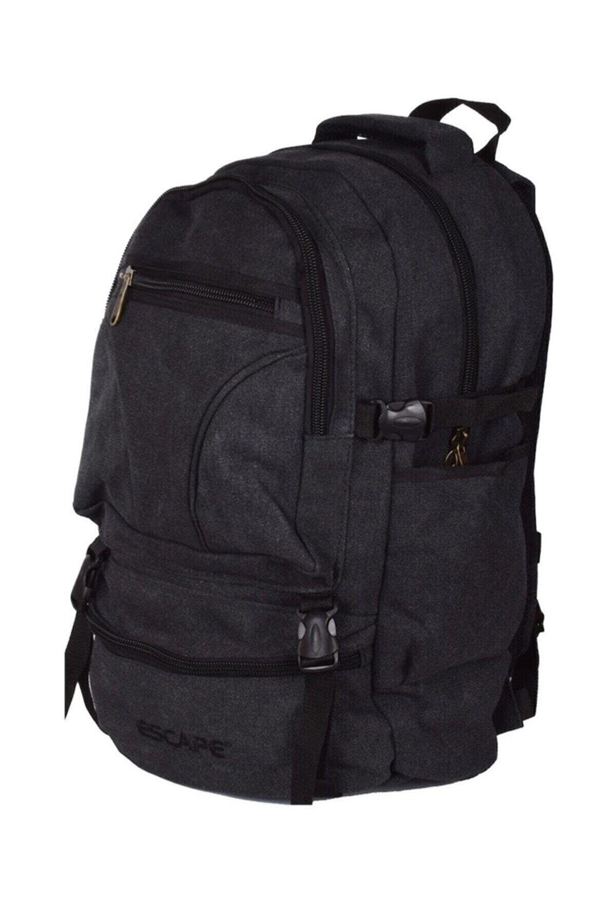 ESCAPE Siyah Dağcı Sırt Çantası Kanvas Kumaş 50lt 501 Outdoor Çanta
