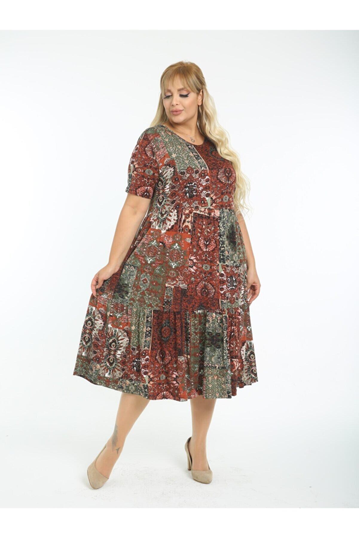 LİKRA Kadın Bordo Büyük Beden Etnik Desen Büzgülü 3 Katlı Lı Viskon Elbise