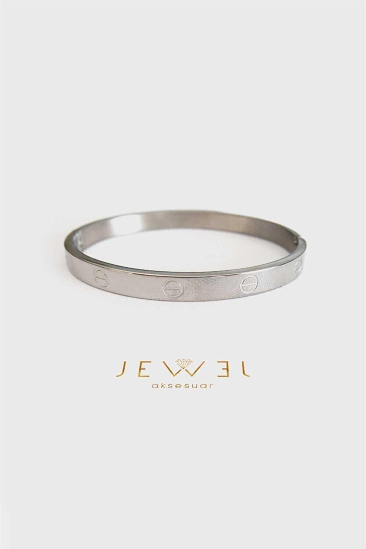 Jewel C. Model Beyaz Altın Kaplama Bileklik