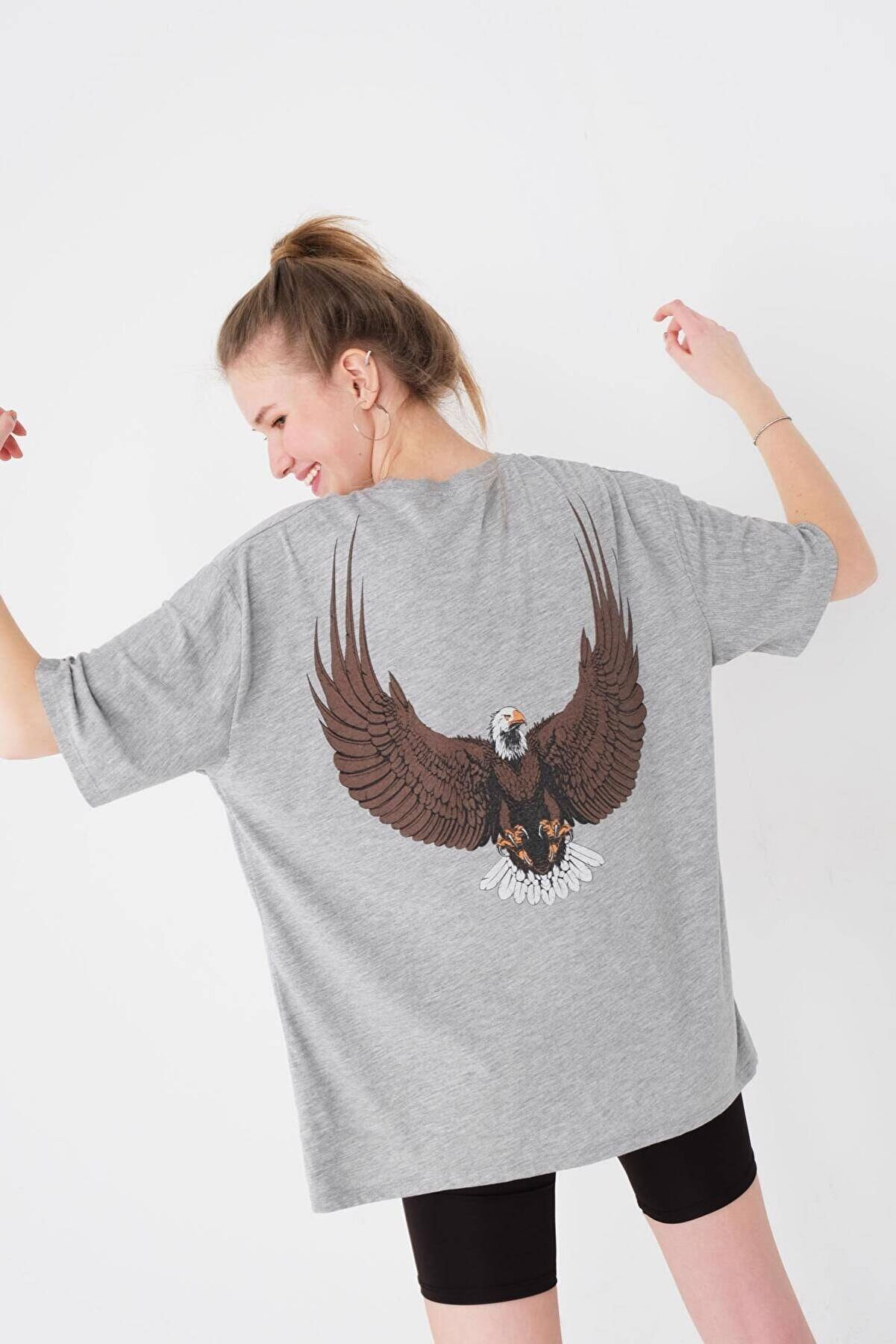 Addax Baskılı Oversize T-shirt P9583 - Y4