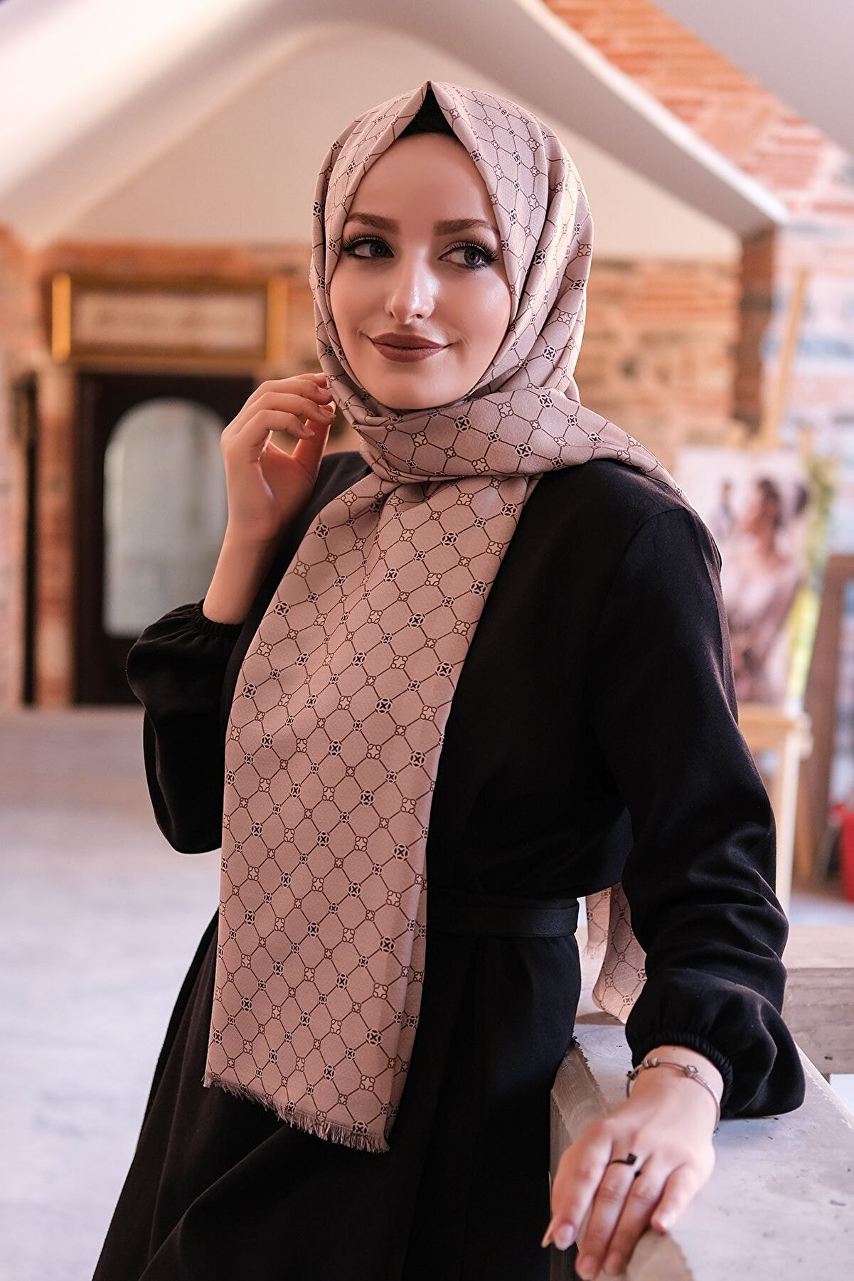 Moda Prusa Kadın Desenli Pamuk Şal - Mpds-0069